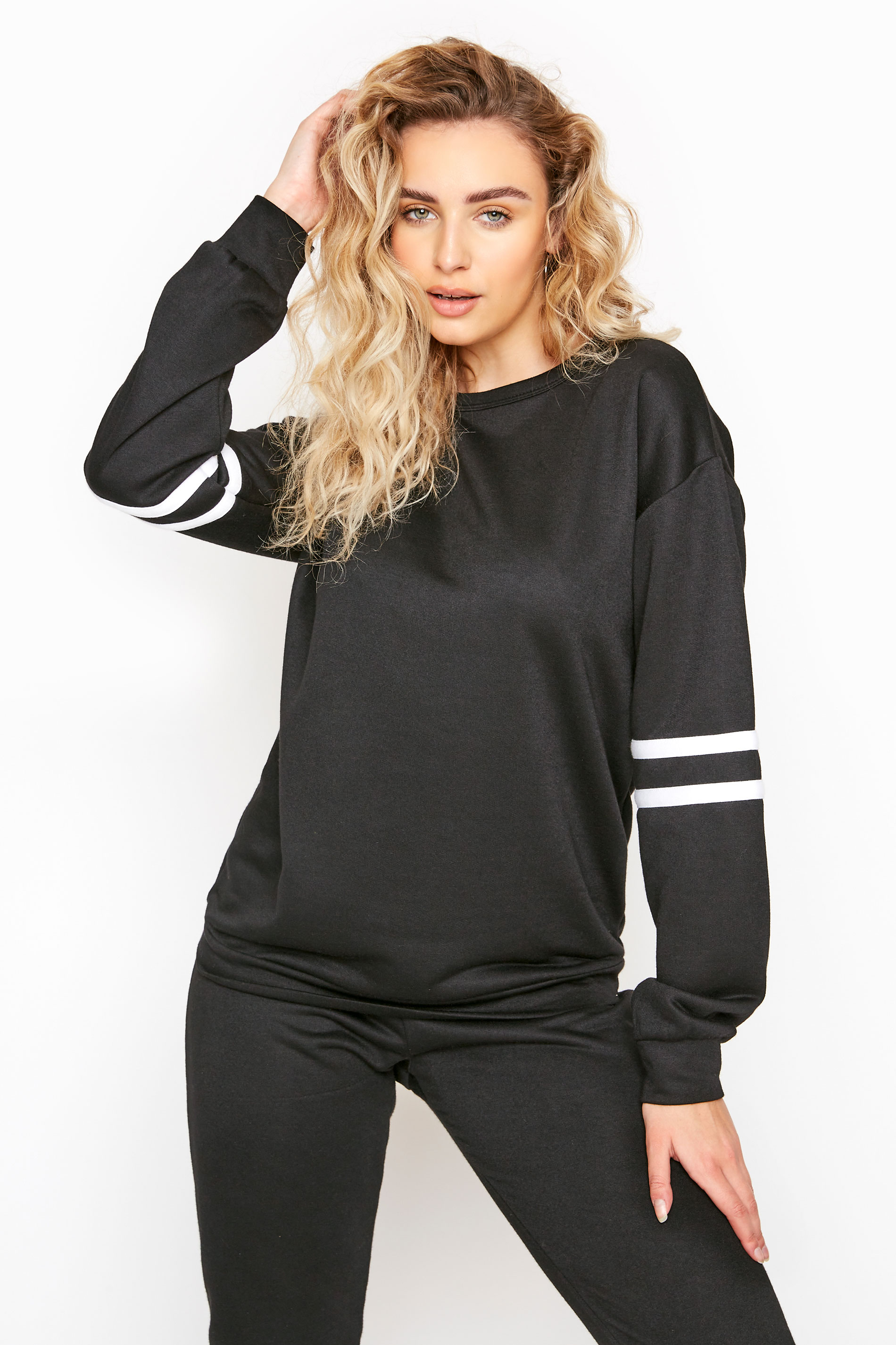 LTS Black Varsity Stripe Co-ord Sweatshirt