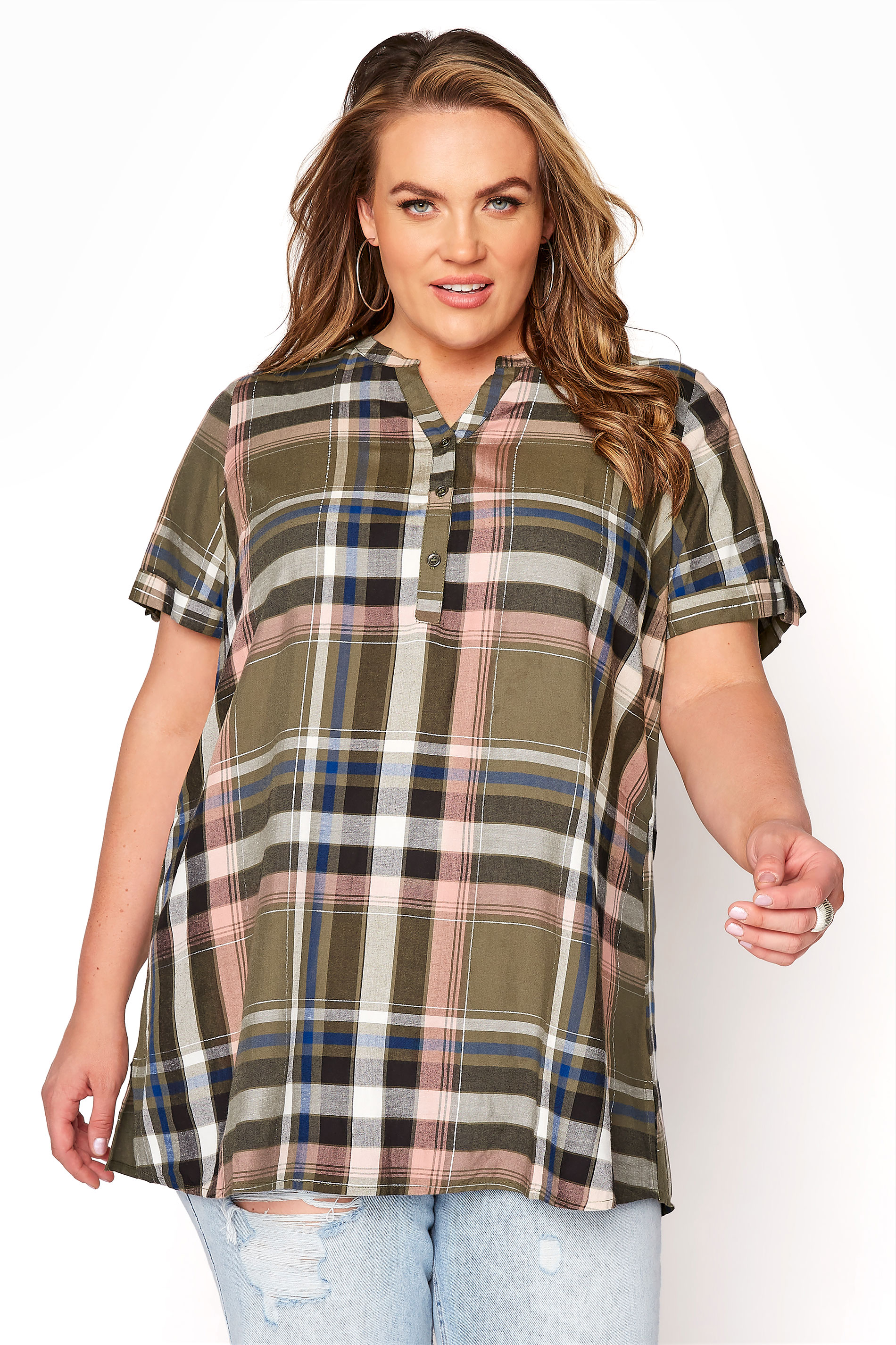 Khaki Grown On Sleeve Check Shirt_A.jpg