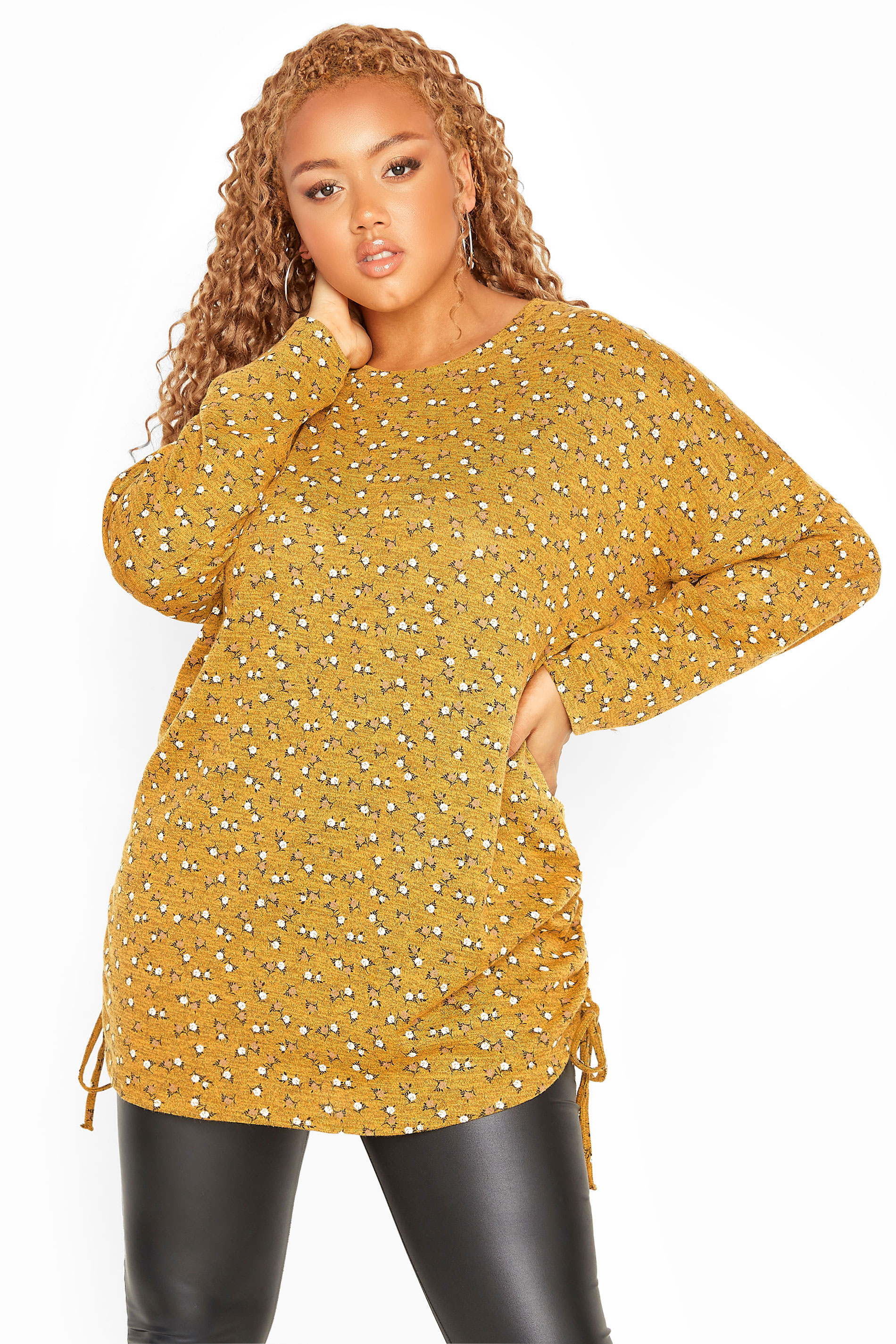 Yellow Ditsy Ruched Knitted Top