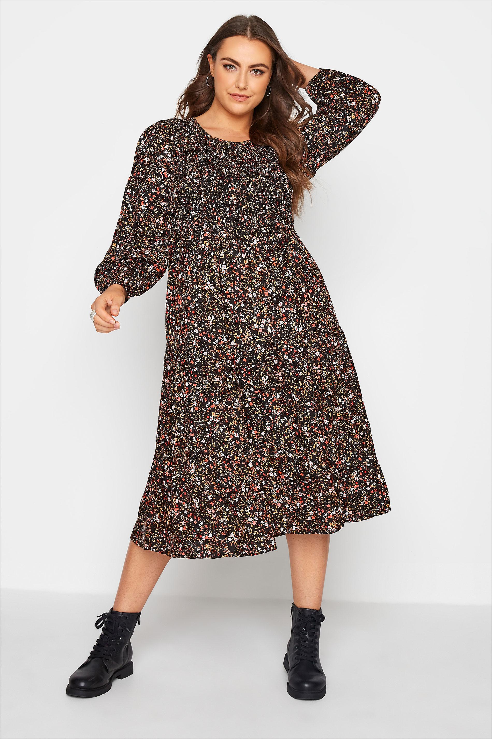 Black Floral Shirred Midaxi Dress_A.jpg