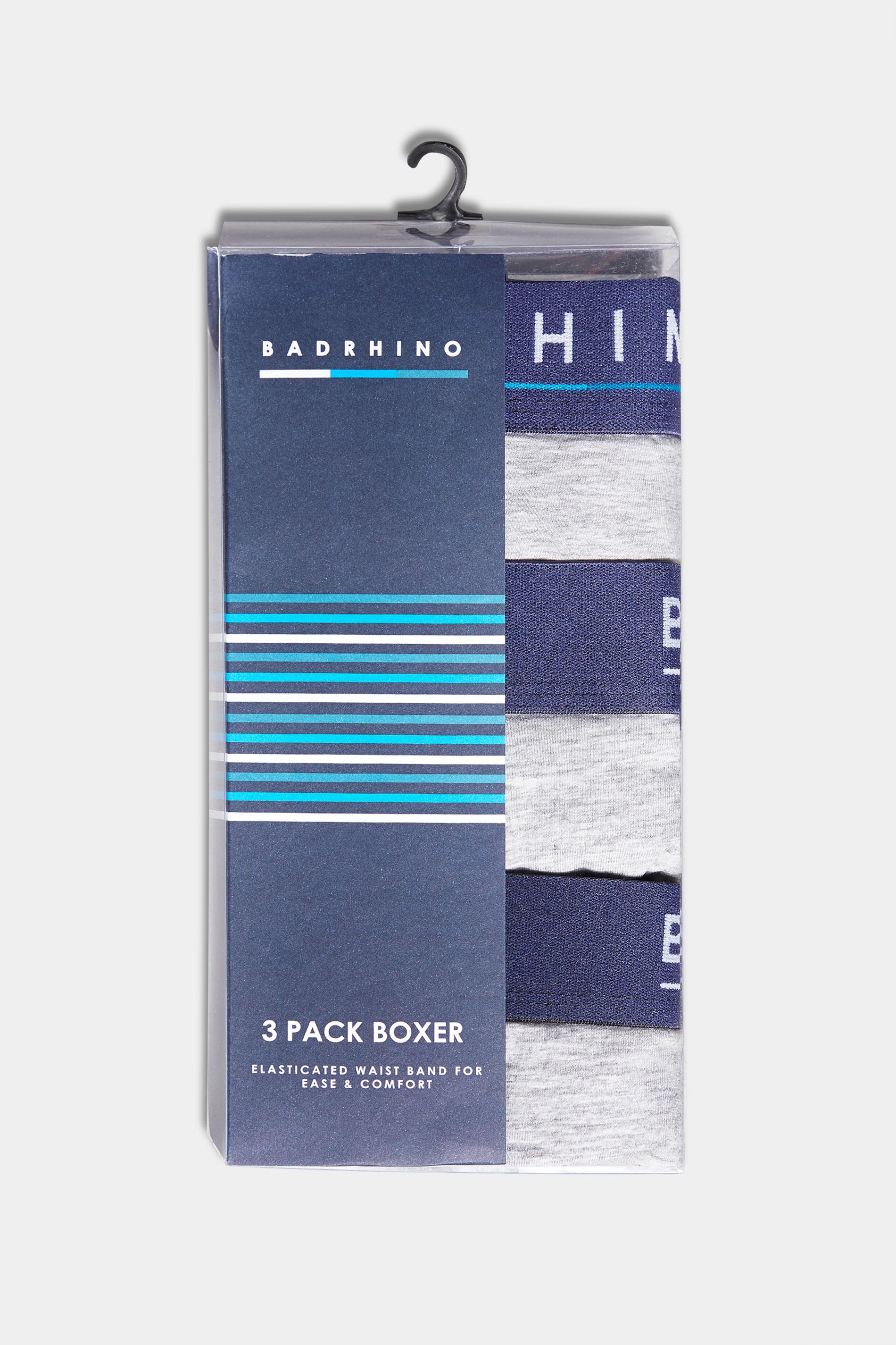 BadRhino Grey Essential 3 Pack Boxers