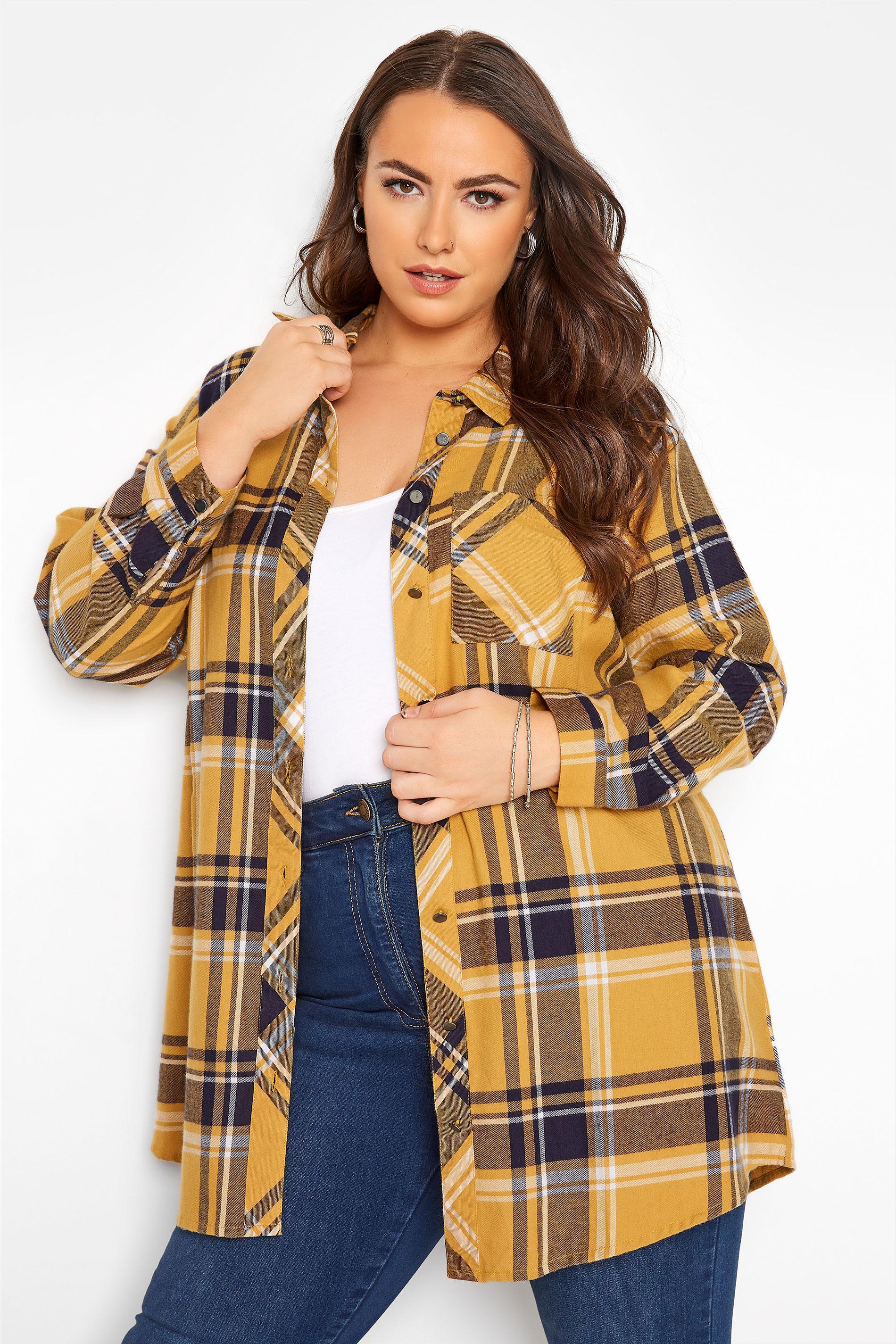 Mustard Yellow Check Raglan Boyfriend Shirt_A.jpg