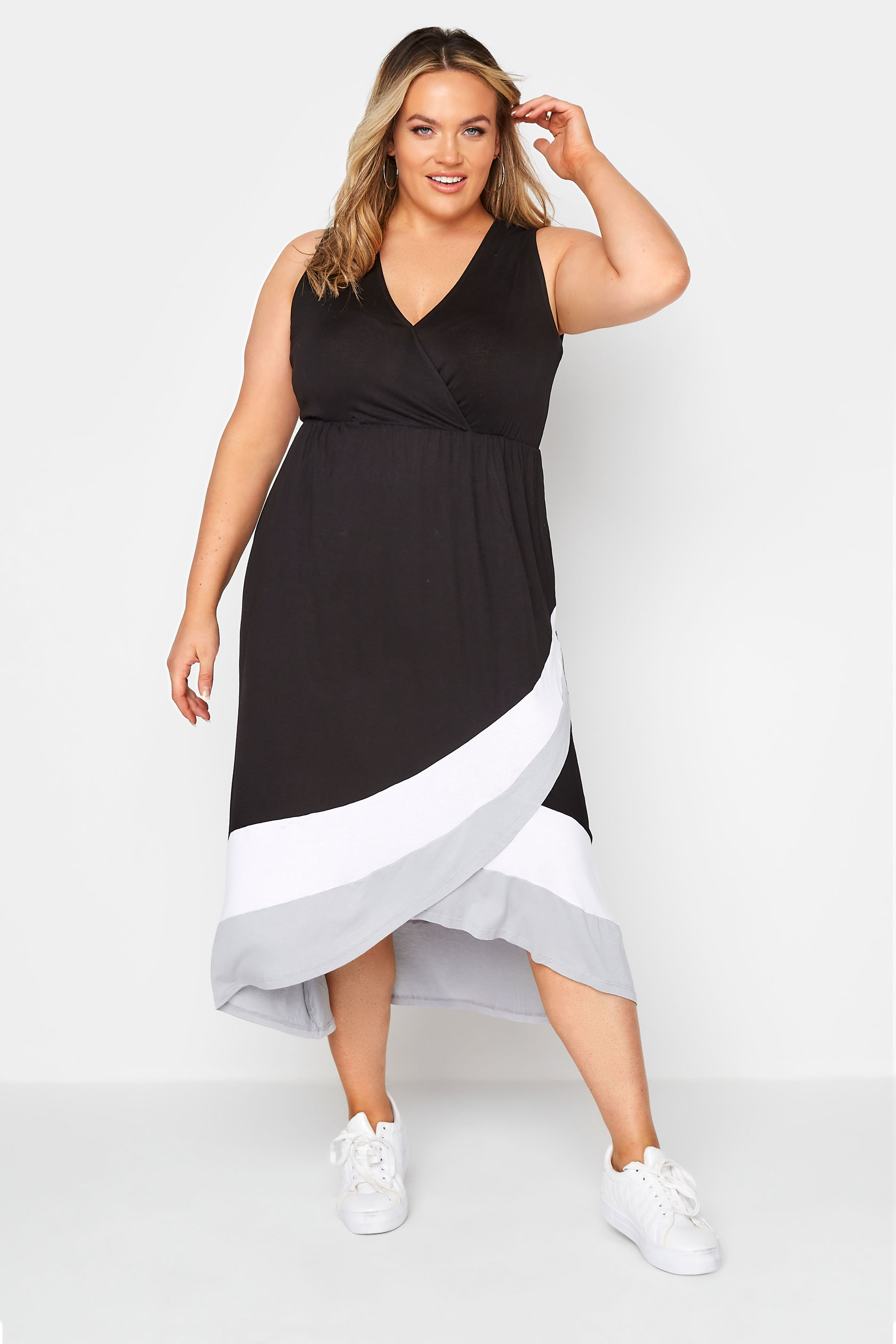 Black Colour Block Plunge Wrap Midaxi Dress_A.jpg