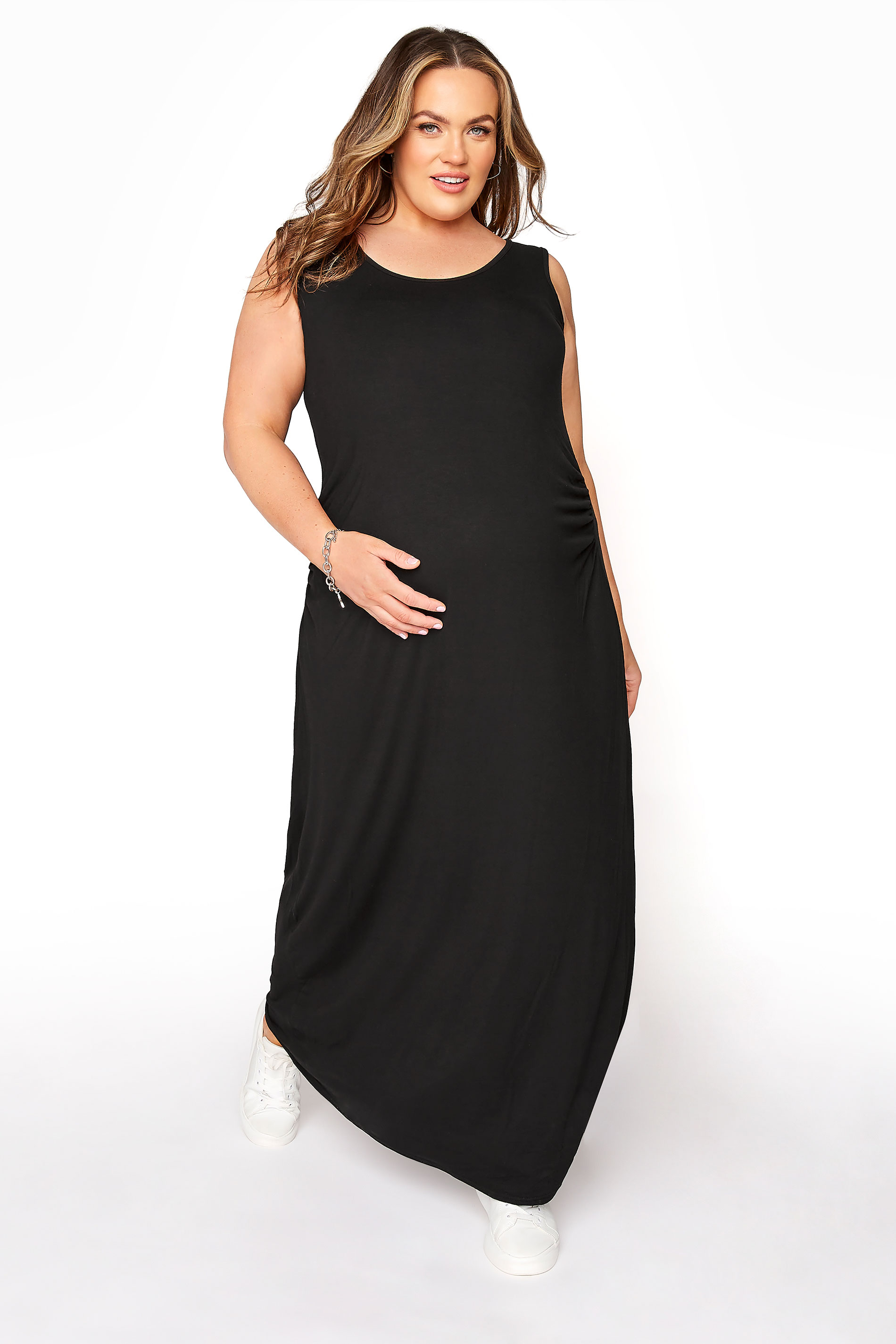 BUMP IT UP MATERNITY Black Sleeveless Maxi Dress_A.jpg