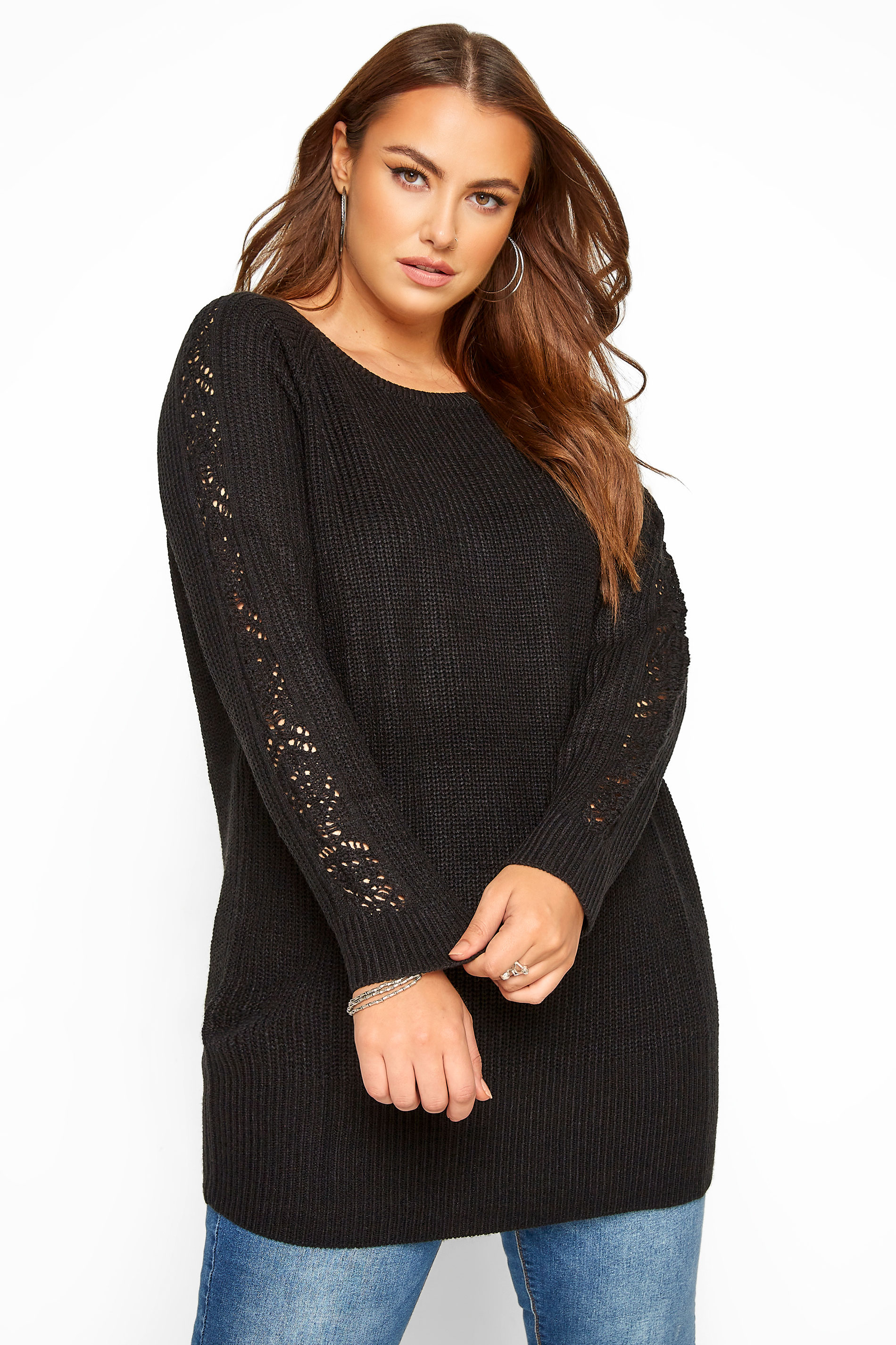 Black Pointelle Sleeve Knitted Jumper