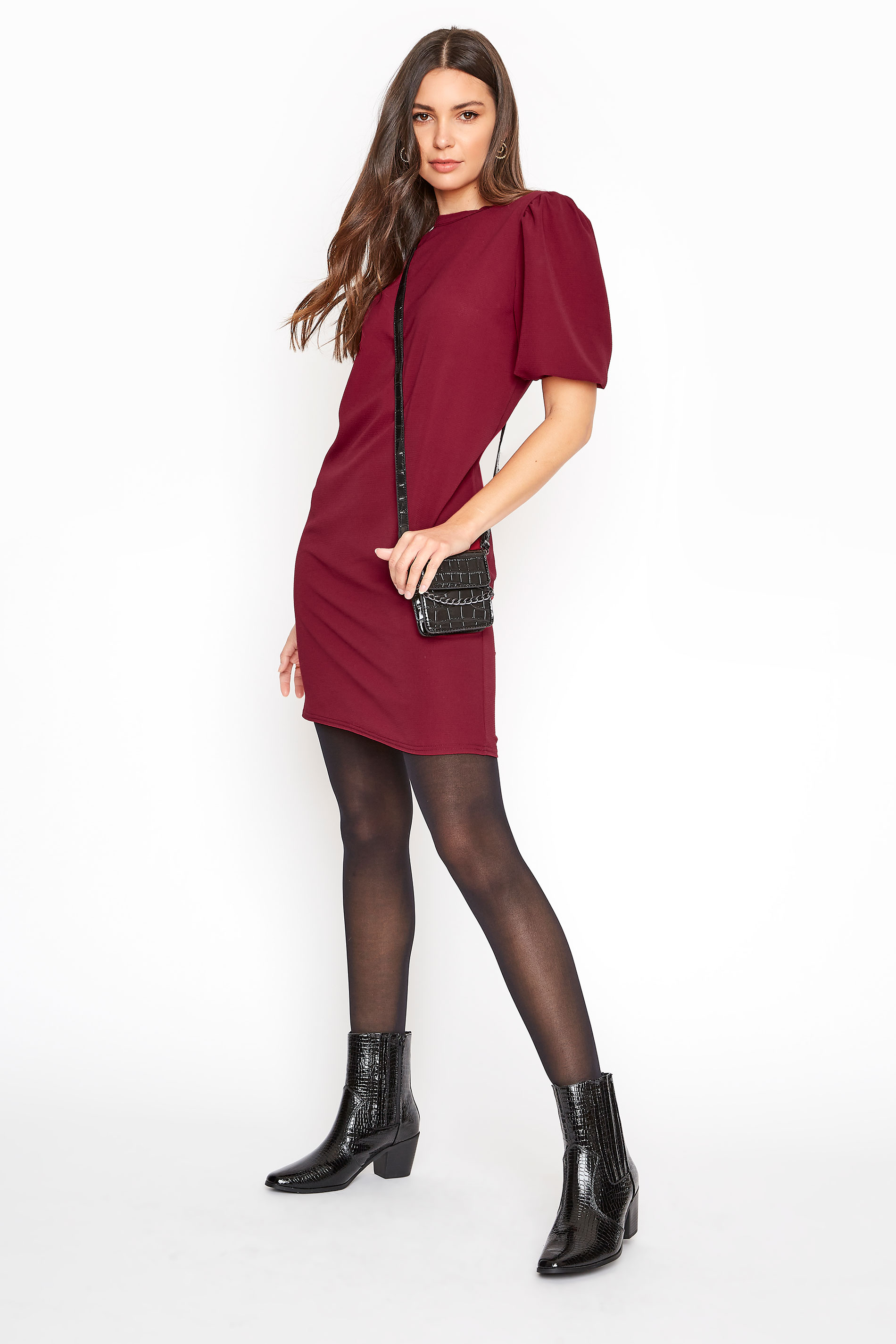LTS Wine Red Puff Sleeve Tunic Dress