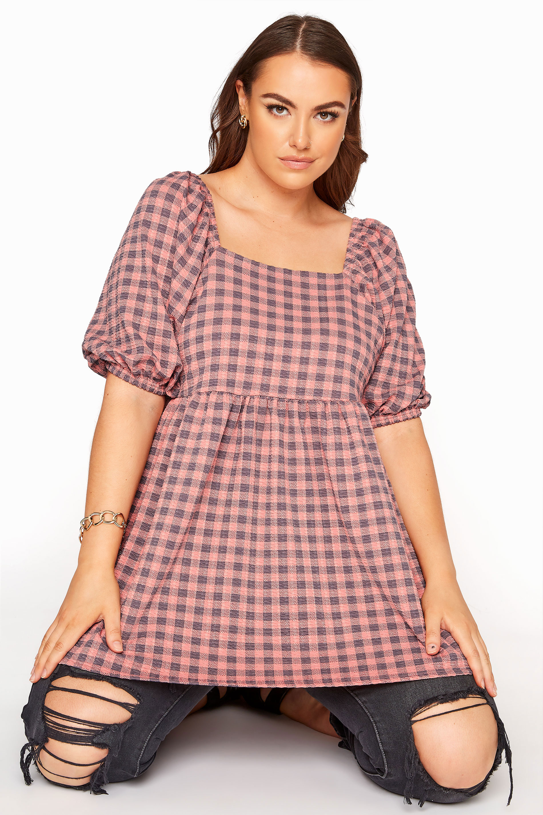 LIMITED COLLECTION Pink Gingham Square Neck Smock Top_A.jpg