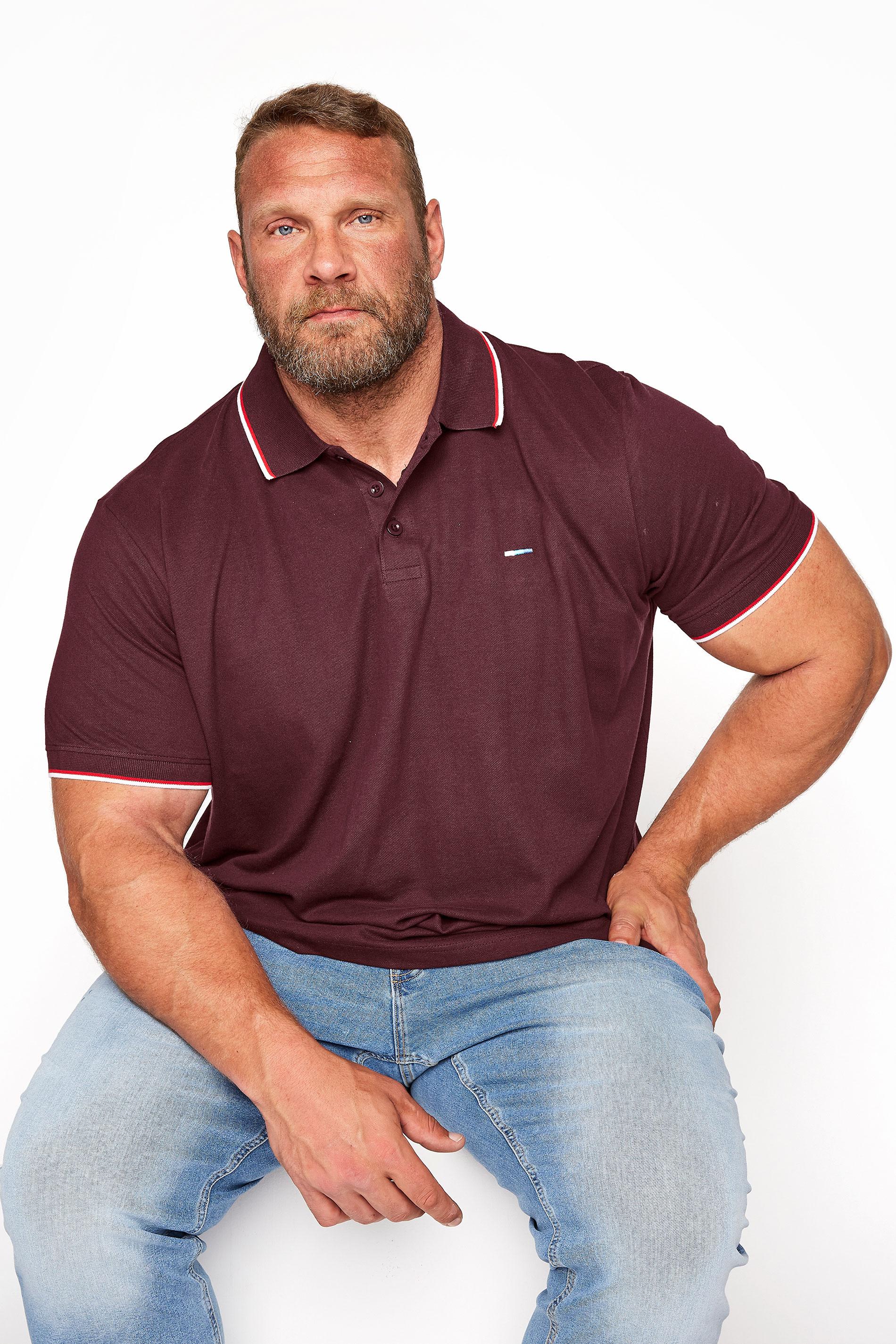 BadRhino Burgundy Essential Tipped Polo Shirt_M.jpg