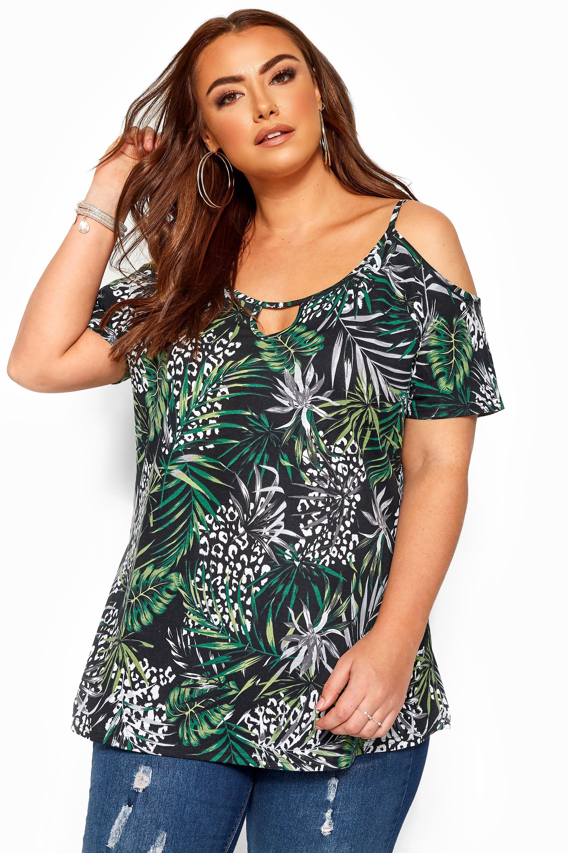 Black Tropical Print Strappy Cold Shoulder Top