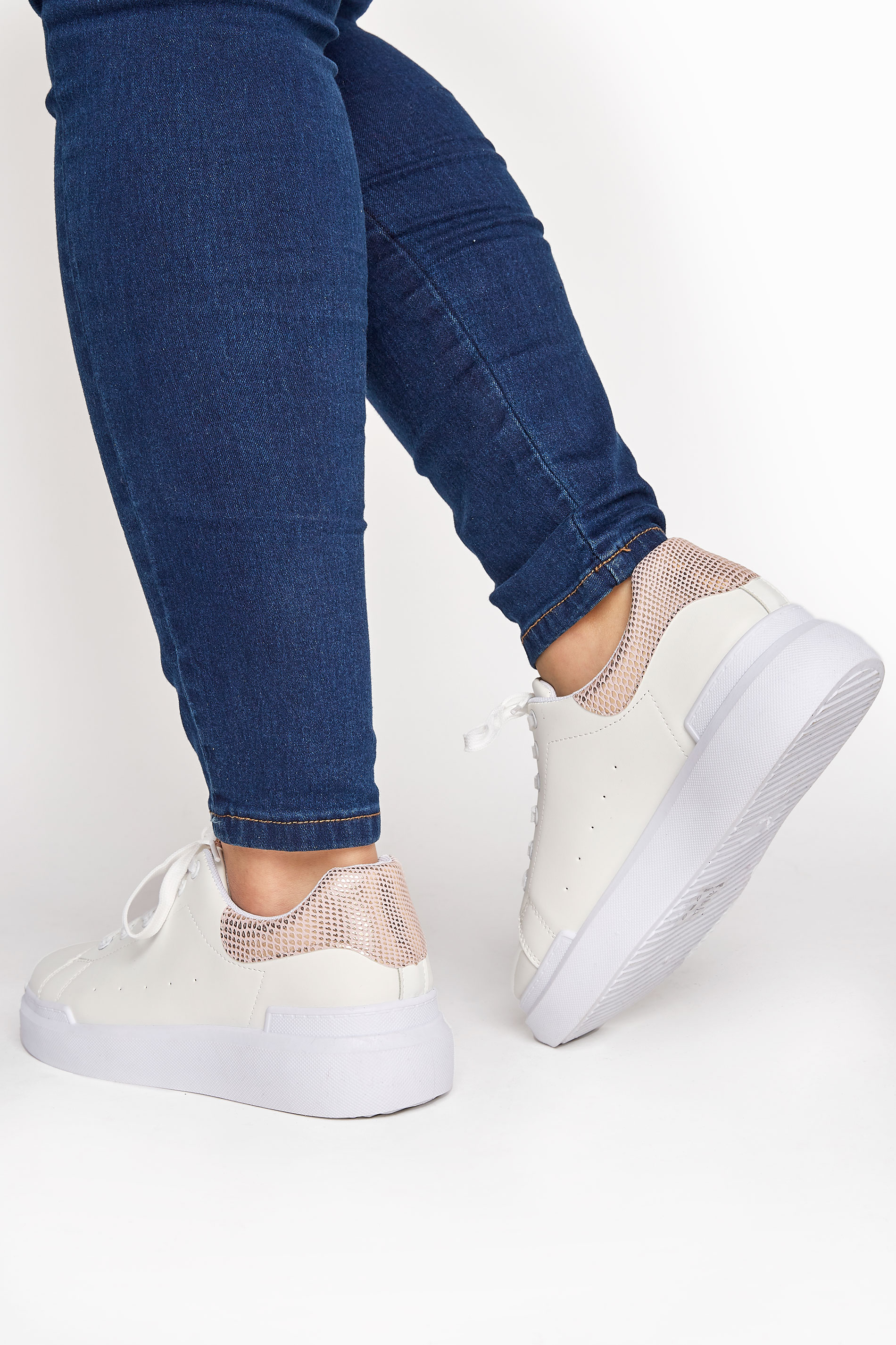 LIMITED COLLECTION White and Rose Gold Flatform Trainer In Wide Fit
