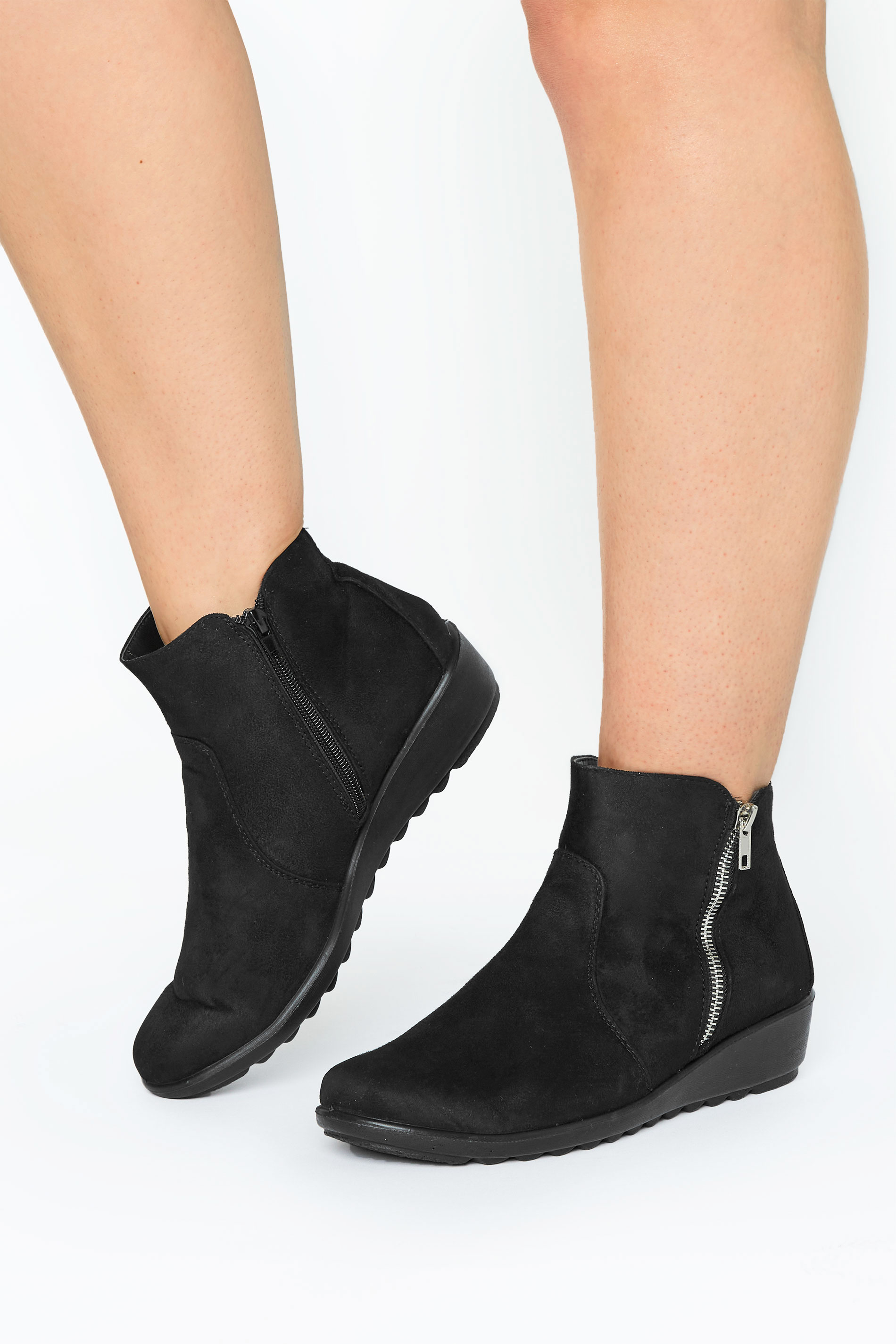 Black Vegan Suede Wedge Heel Ankle Boots In Extra Wide Fit