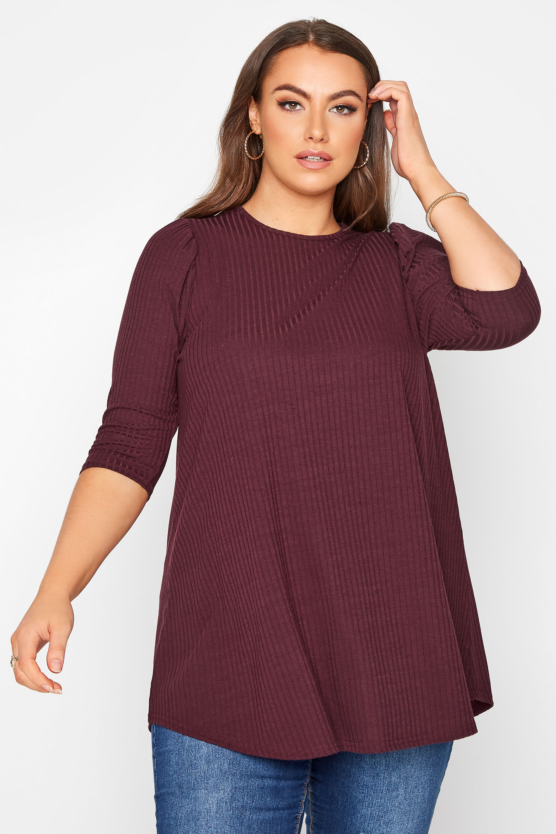 LIMITED COLLECTION Berry Purple Puff Sleeve Ribbed Top_A.jpg