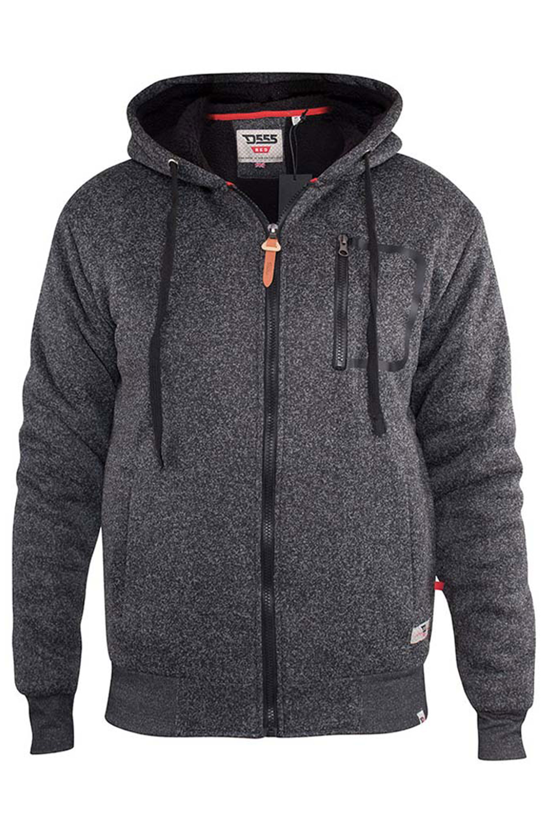 D555 Black Sherpa Zip Through Jacket