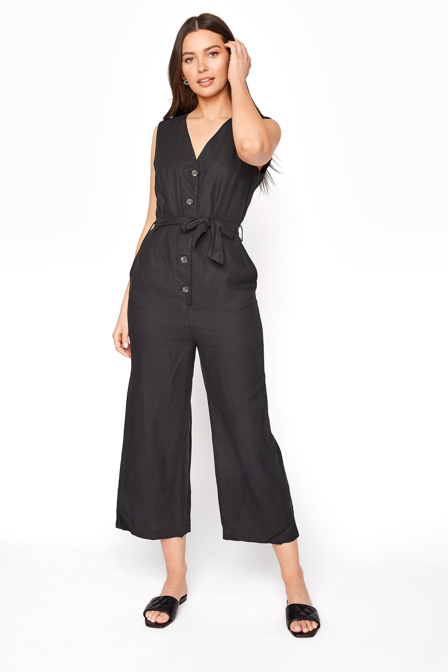 Black Linen Blend Button Front Cropped Jumpsuit