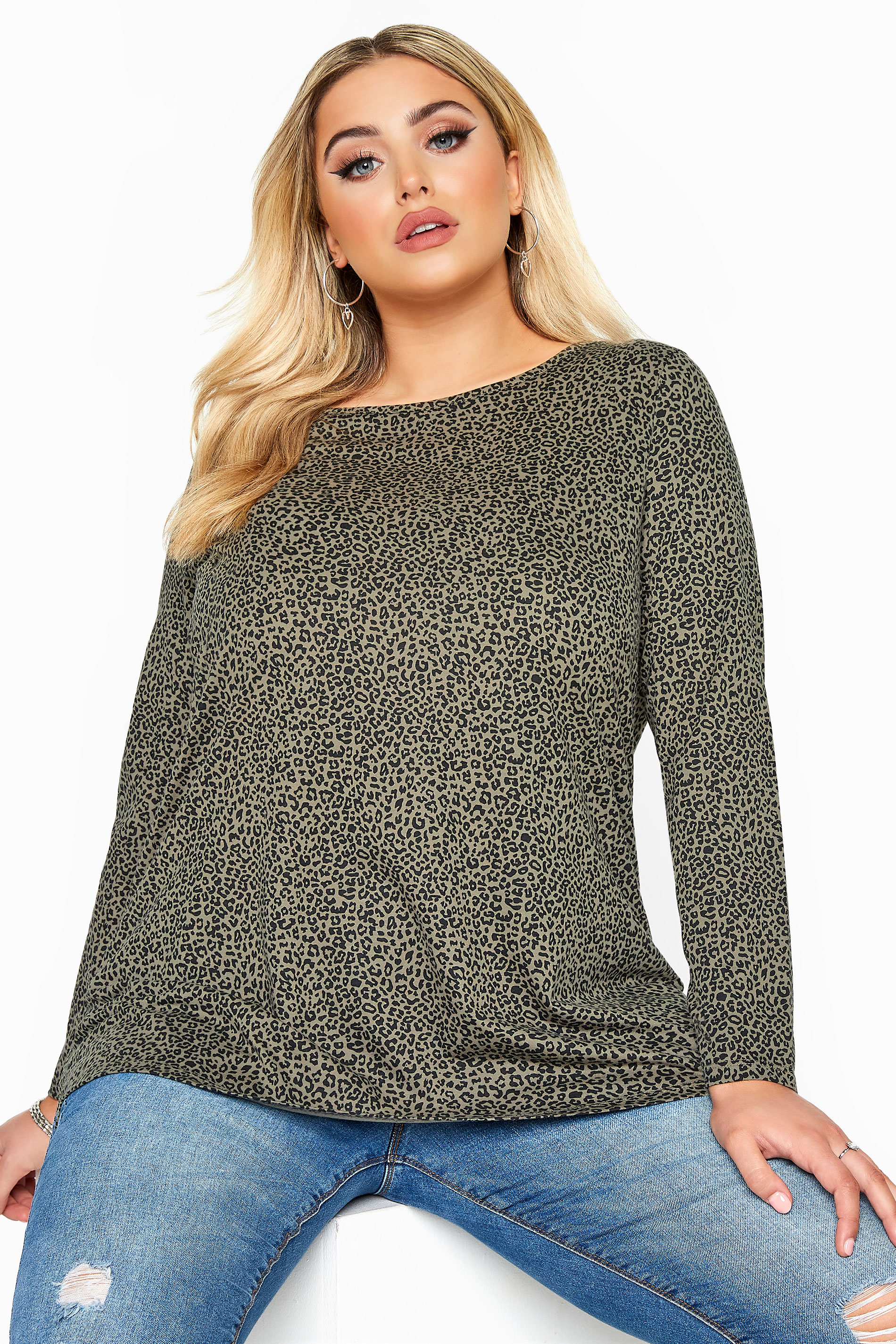 Khaki Animal Print Long Sleeve Top