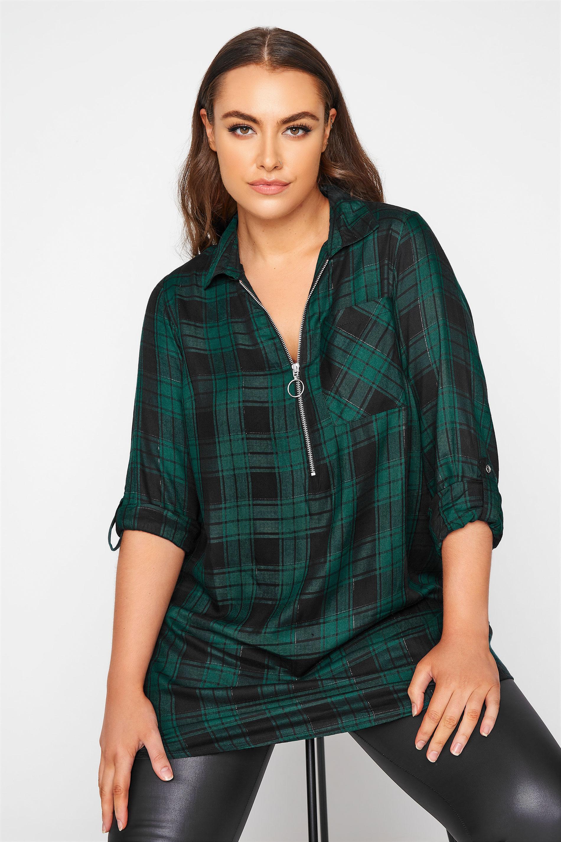 Forest Green Zip Check Shirt_A.jpg