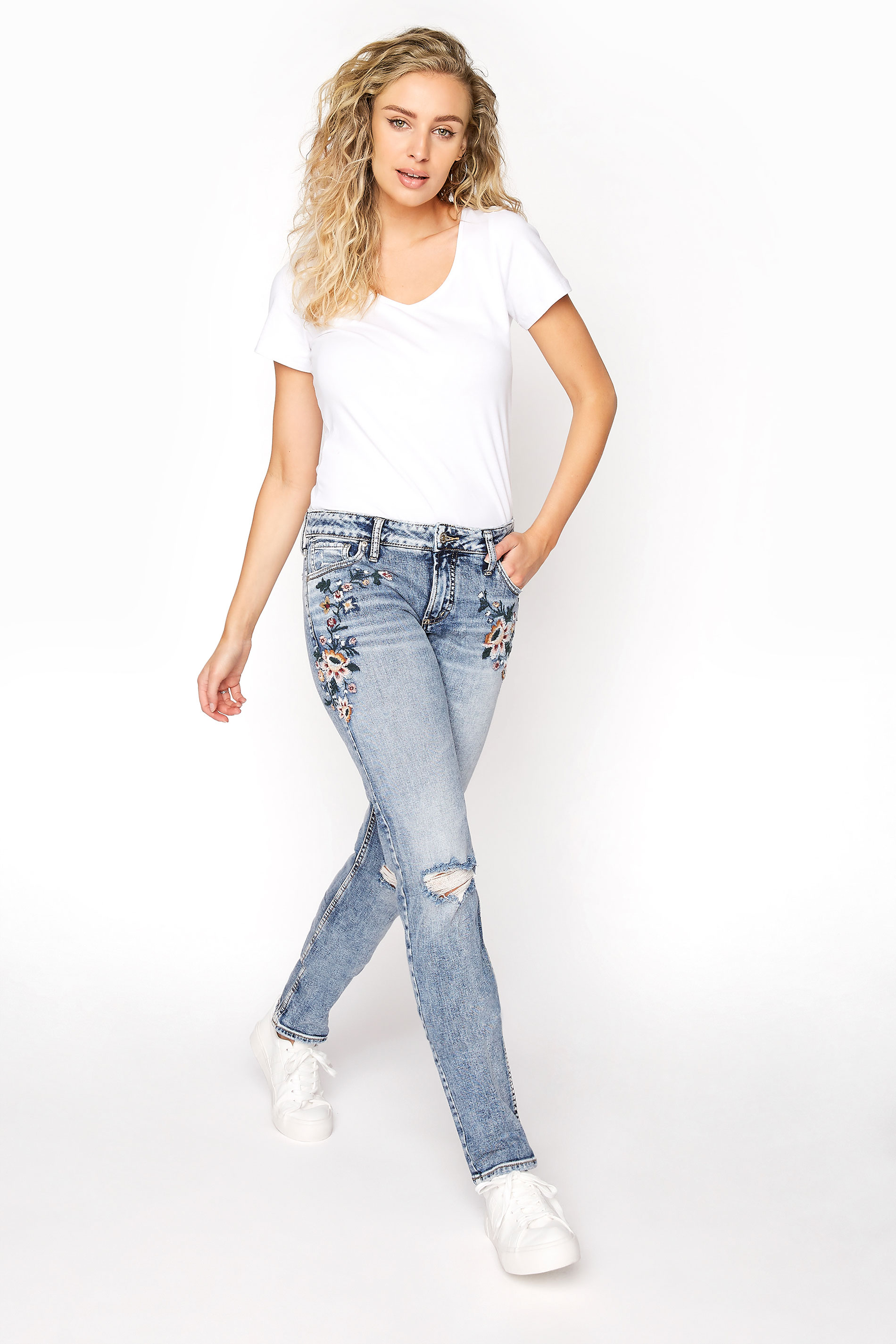 SILVER JEANS Blue Avery Mid Rise Slim Embroidered Skinny Jeans