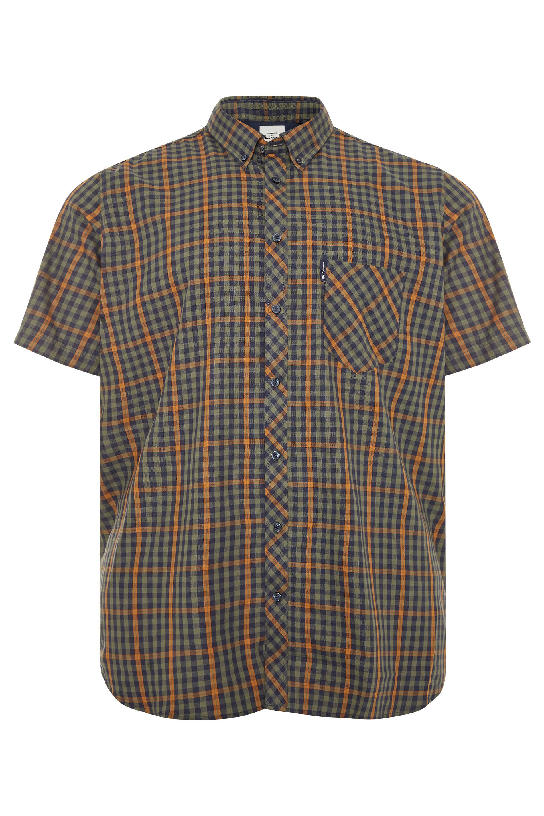 BEN SHERMAN Green Check Short Sleeve Shirt