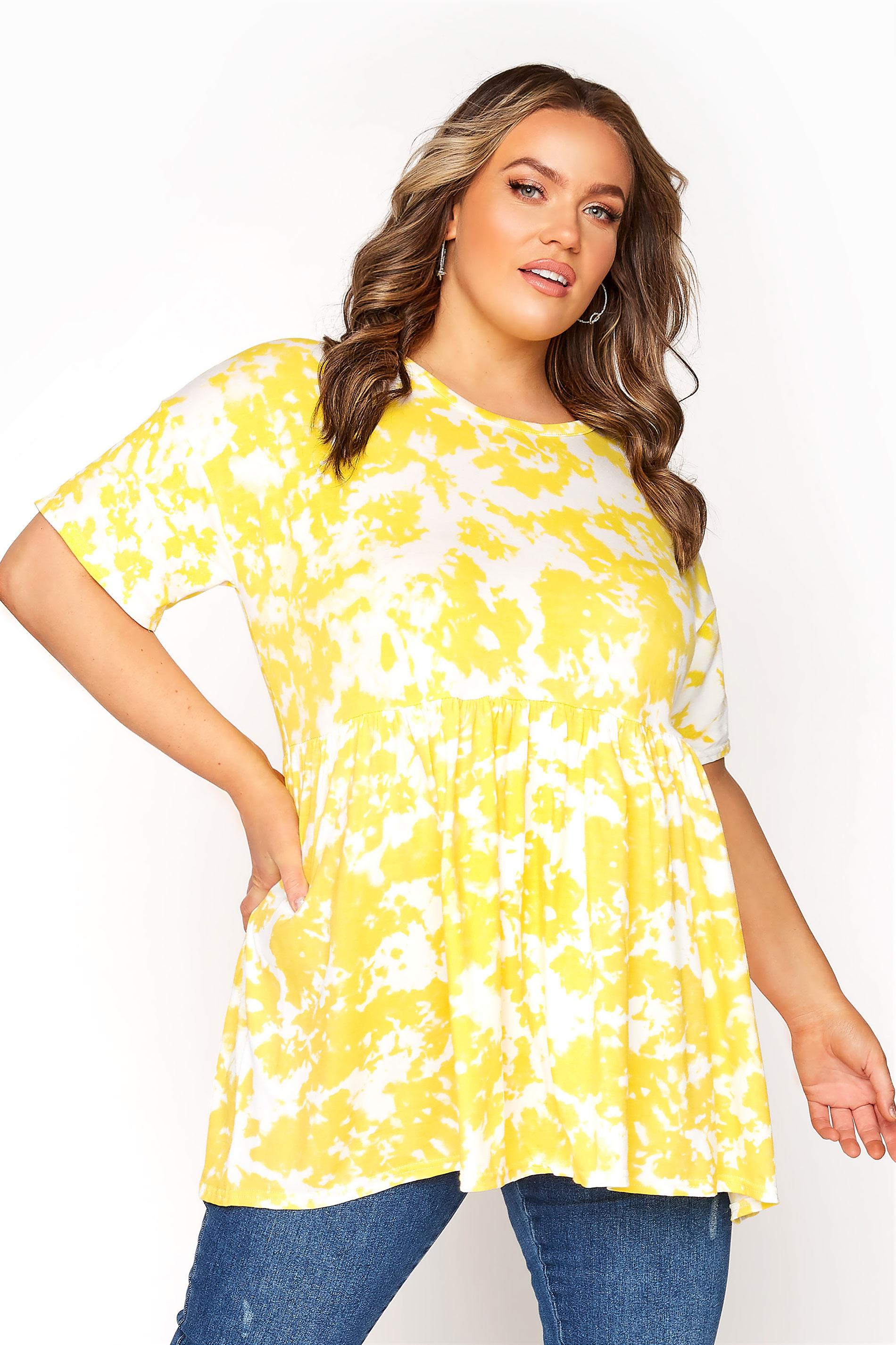 Yellow Tie Dye Drop Shoulder Peplum Tunic