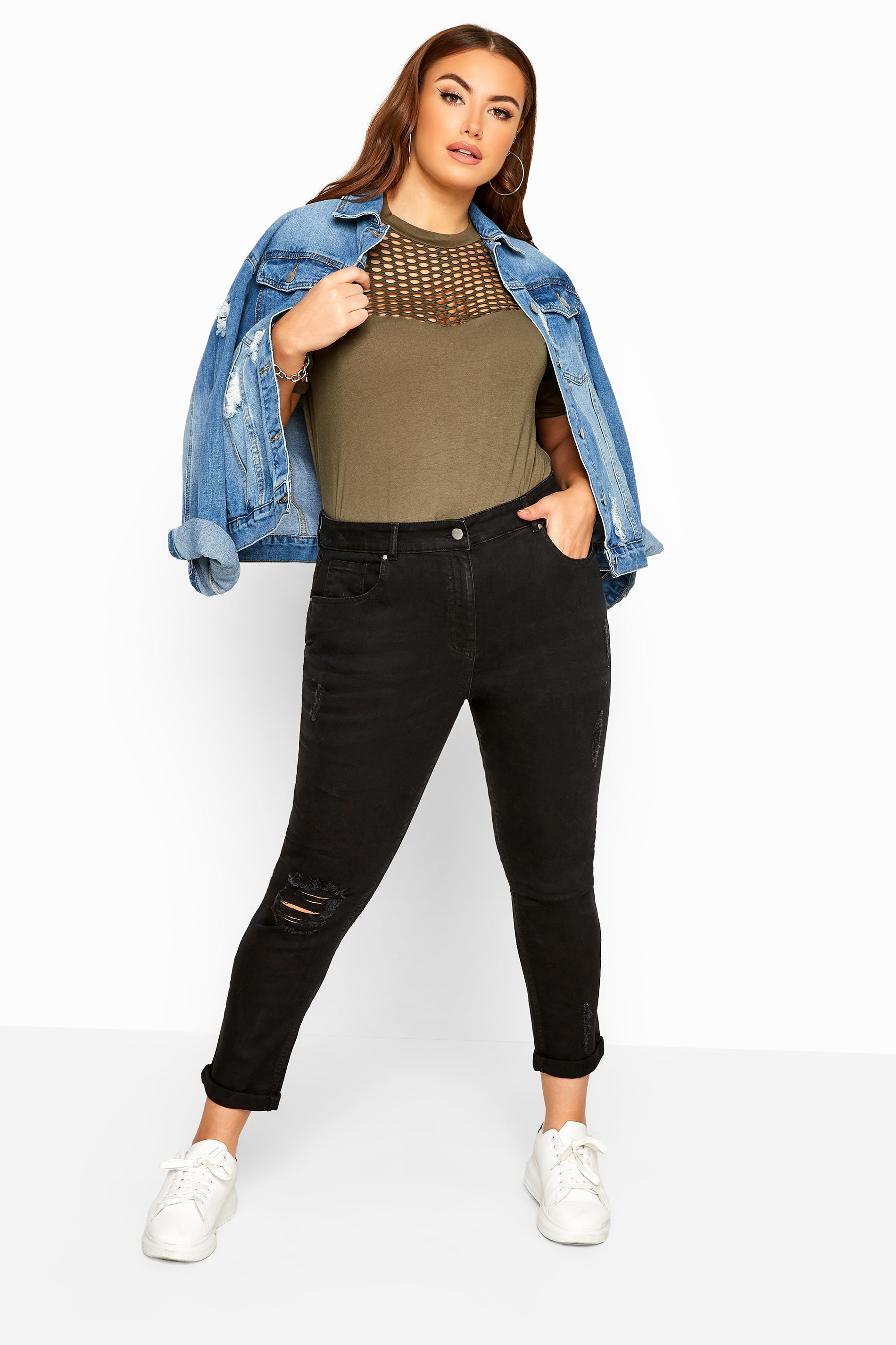 Black Ripped Mom Jeans