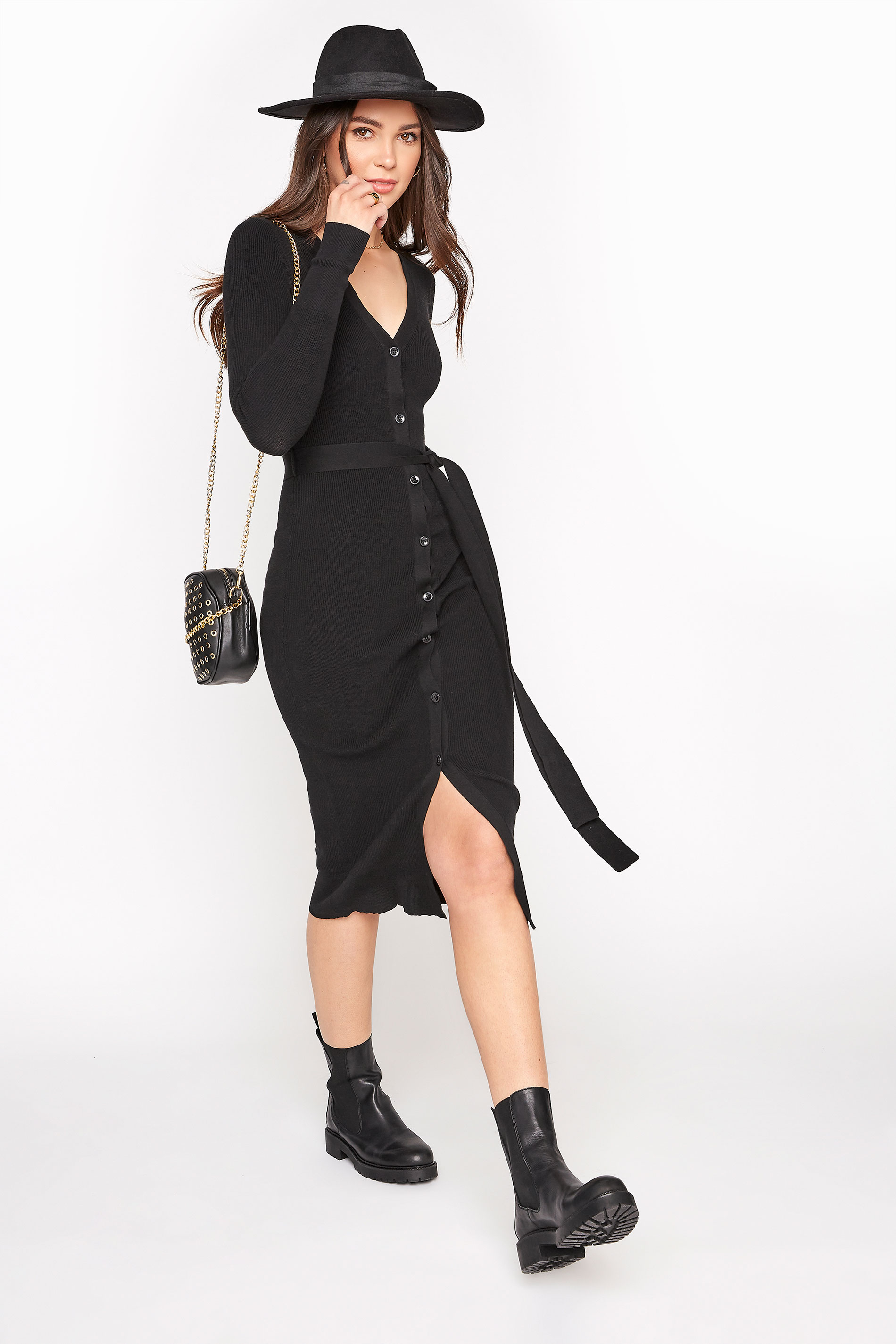 Black Button Through Knitted Cardigan Dress