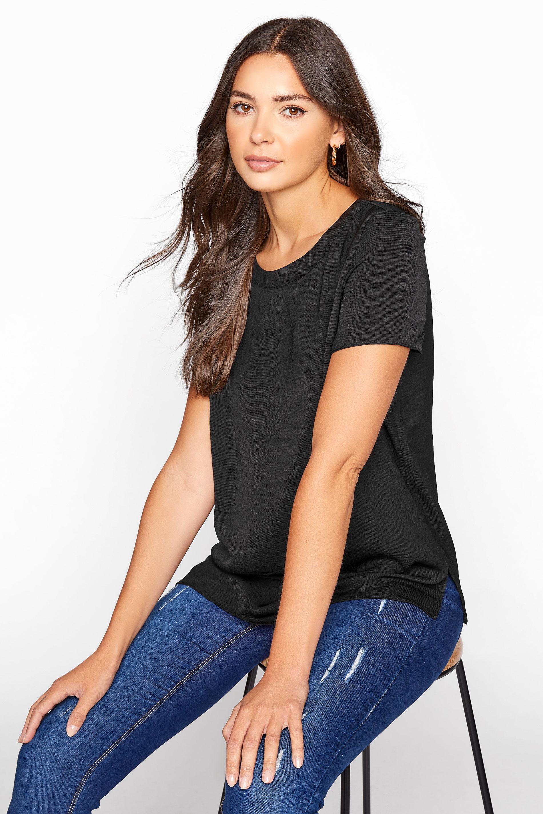 LTS Black Woven T-Shirt