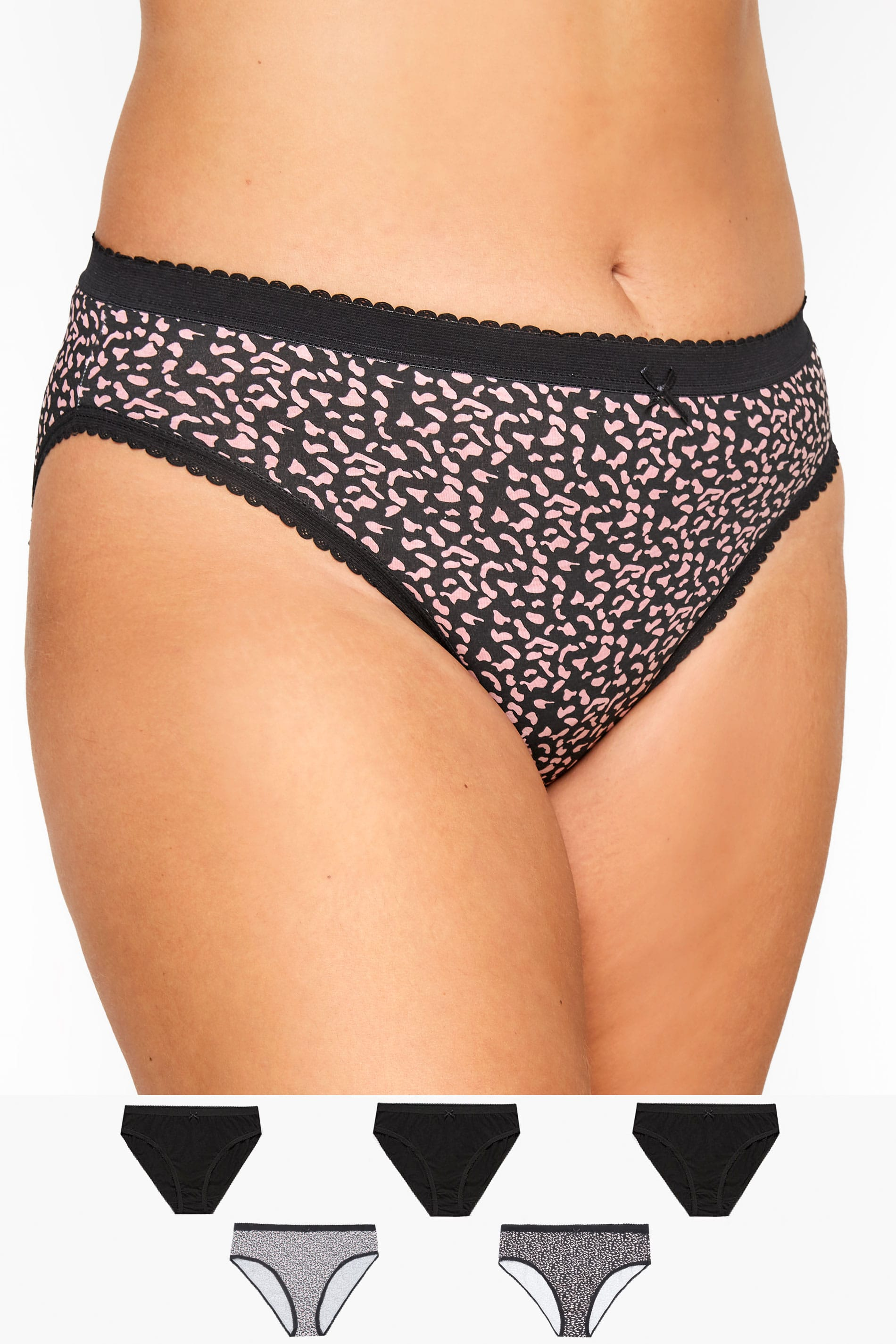 5 PACK Black Animal Print High Leg Briefs