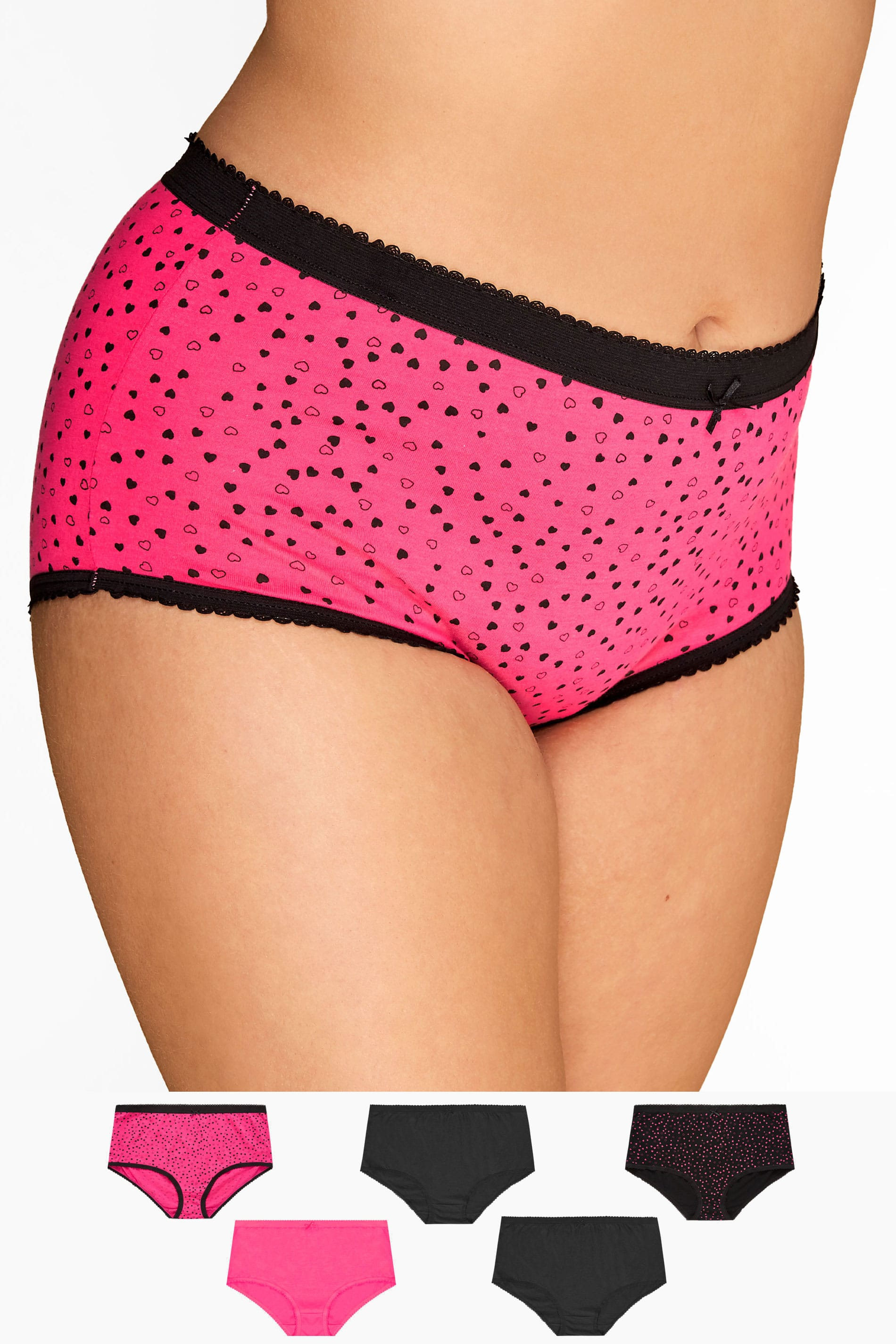 5 PACK Black & Pink Mini Heart Full Briefs