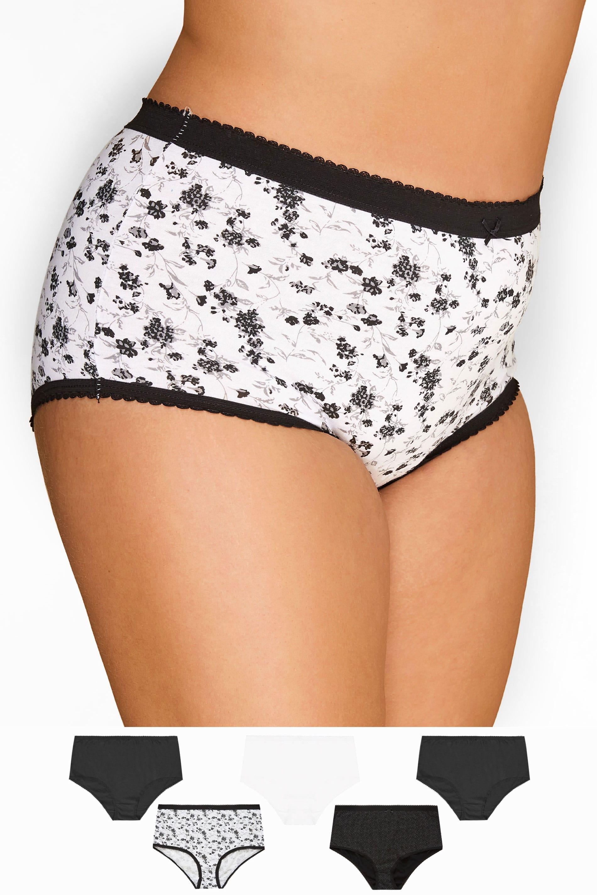 5er Pack Baumwoll-Slips mit Blumen-Muster - Schwarz/Weiß
