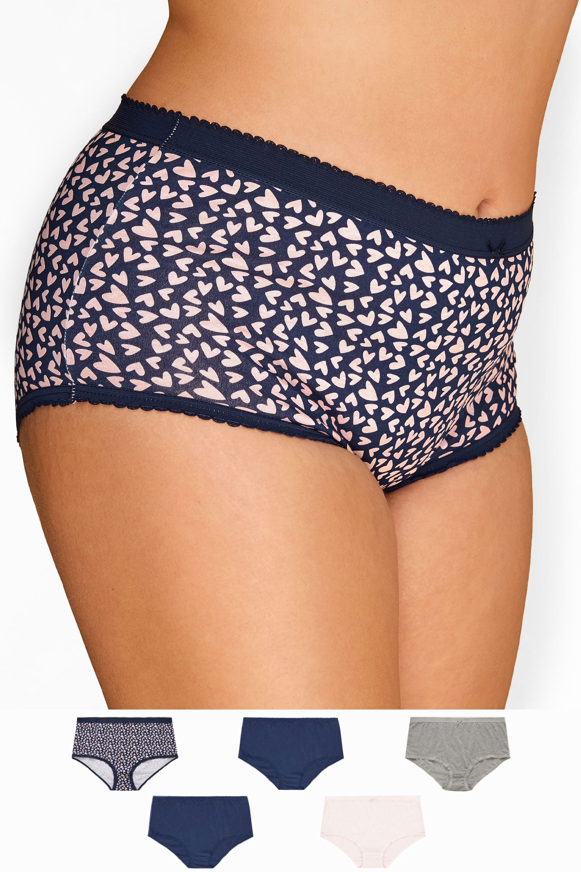5 PACK Navy Heart & Spot Full Briefs