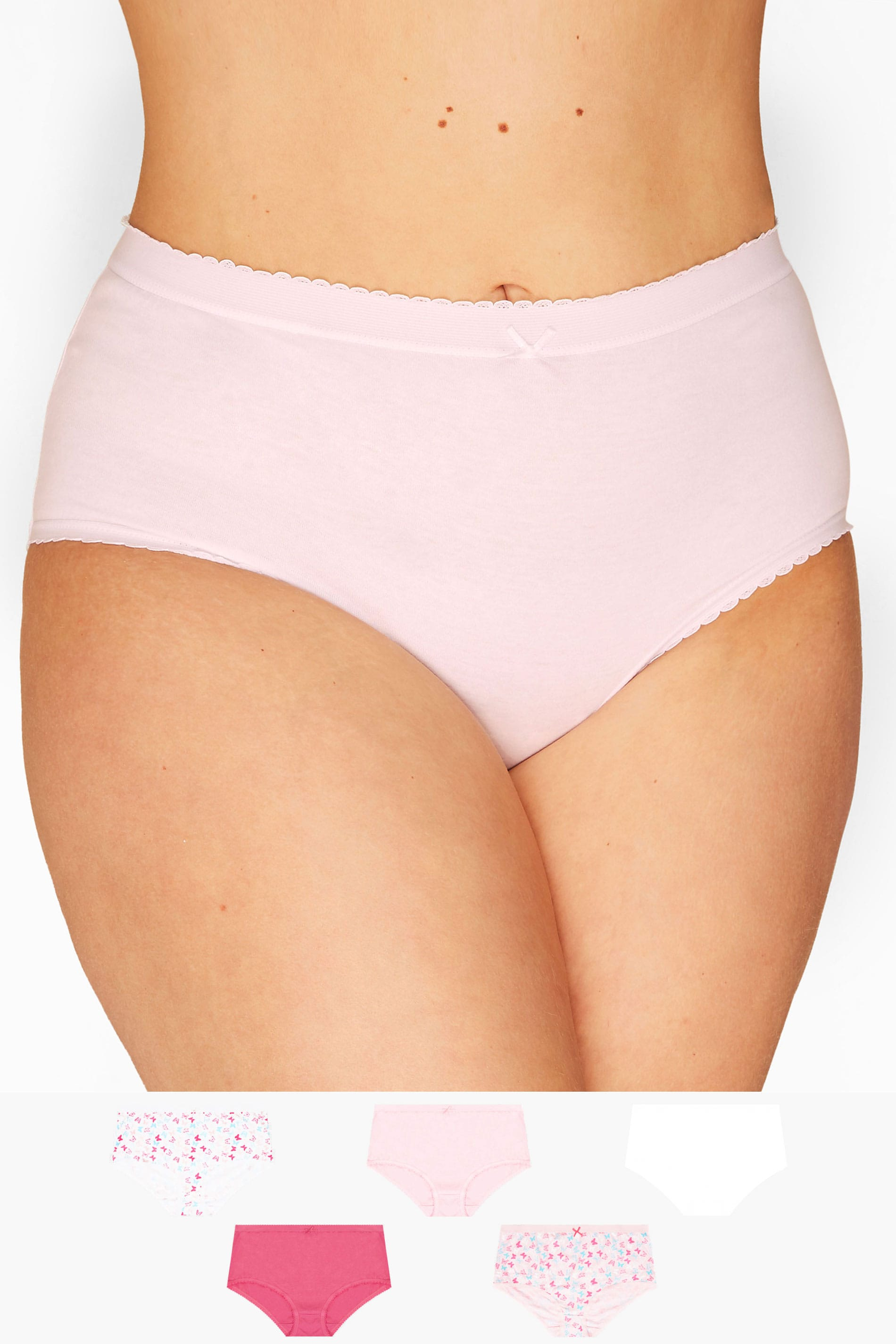 5 PACK Pink Butterfly Full Briefs