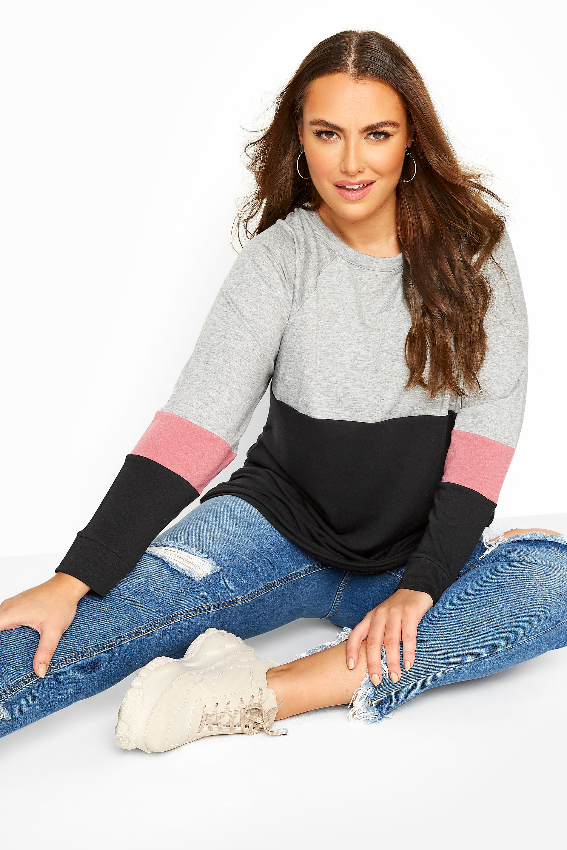 Grey & Pink Colour Block Sweatshirt