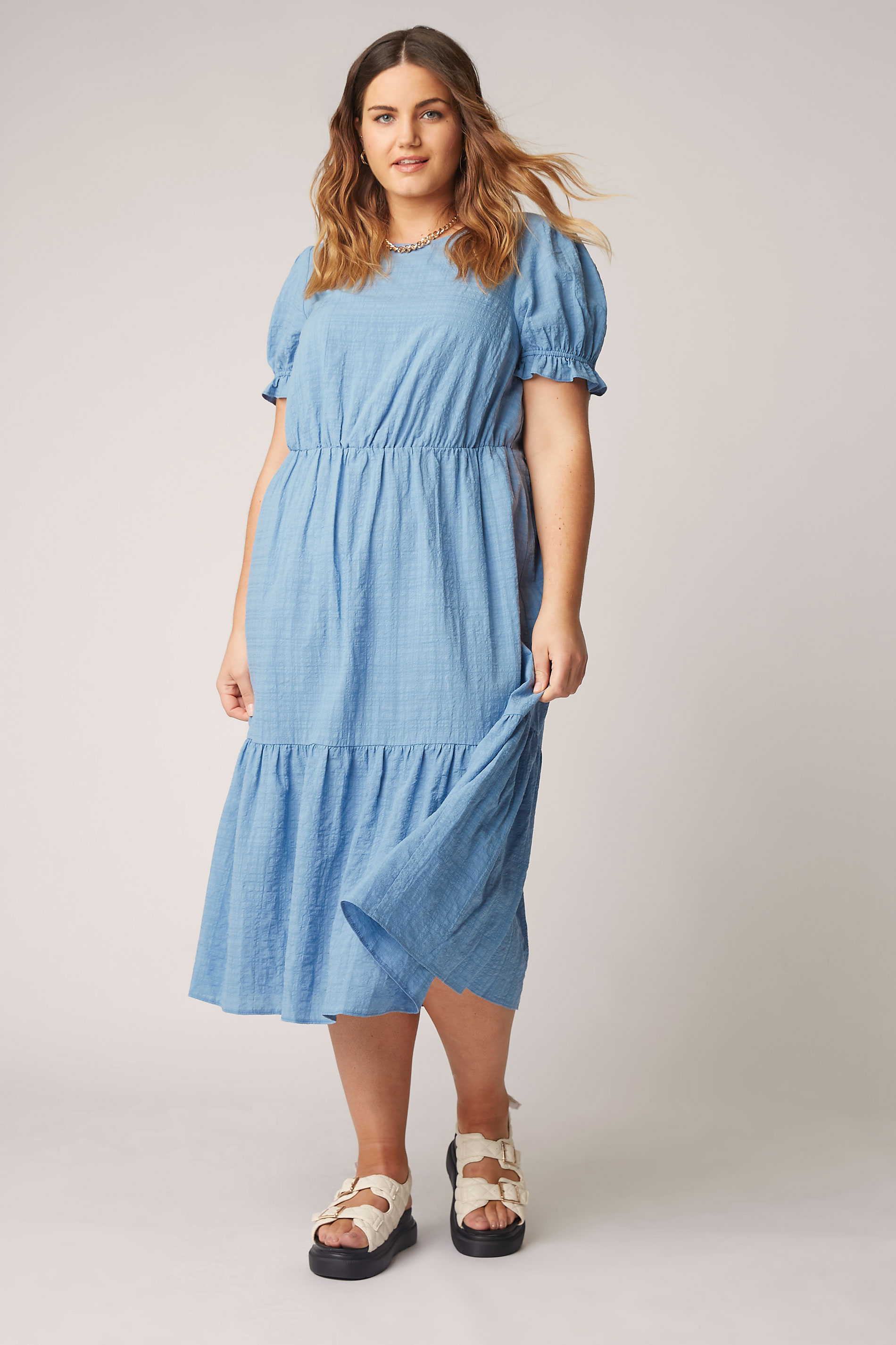 THE LIMITED EDIT Blue Smock Midi Dress_B.jpg