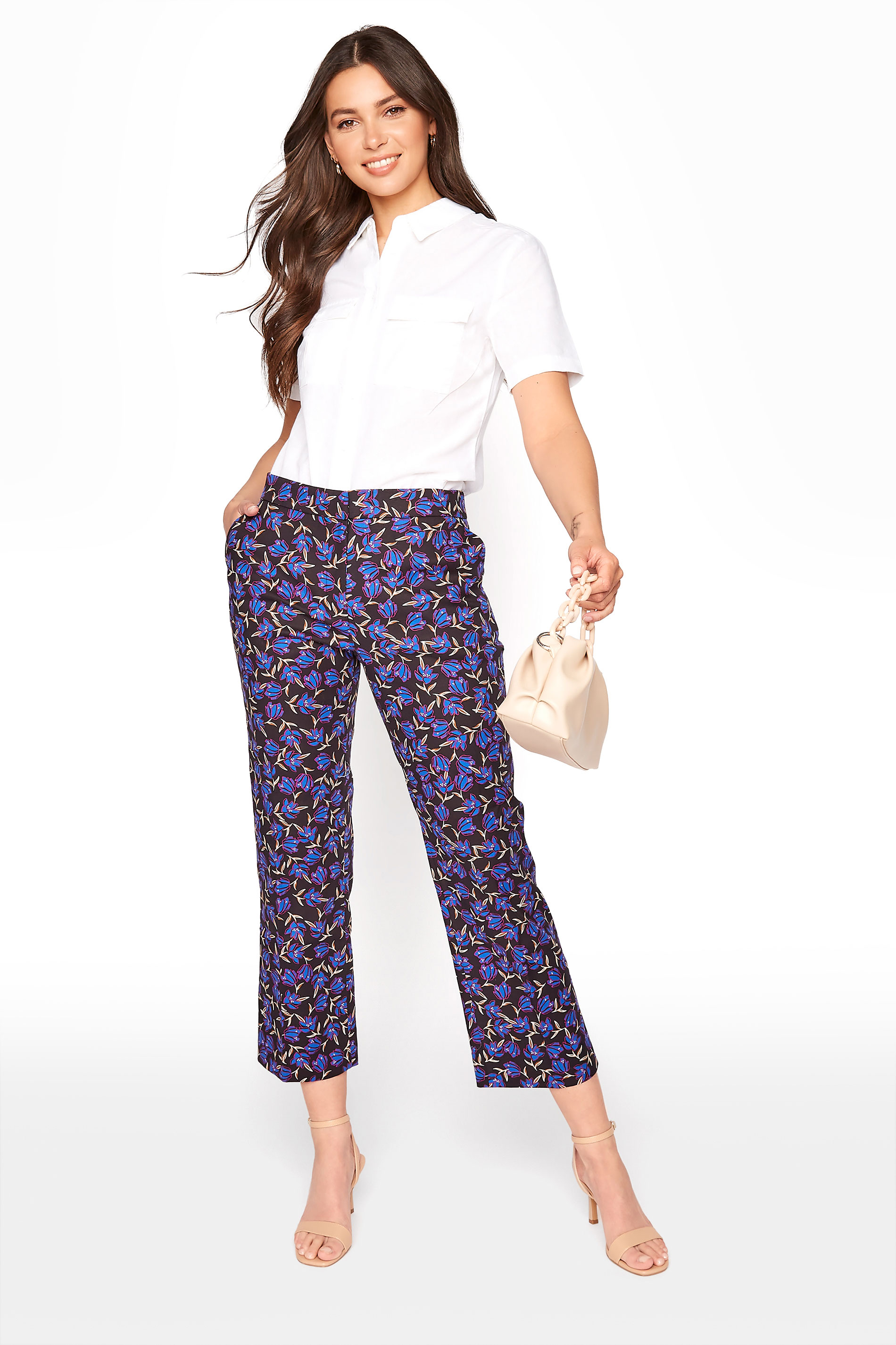 Purple Floral Print Cotton Sateen Ankle Grazer Trousers