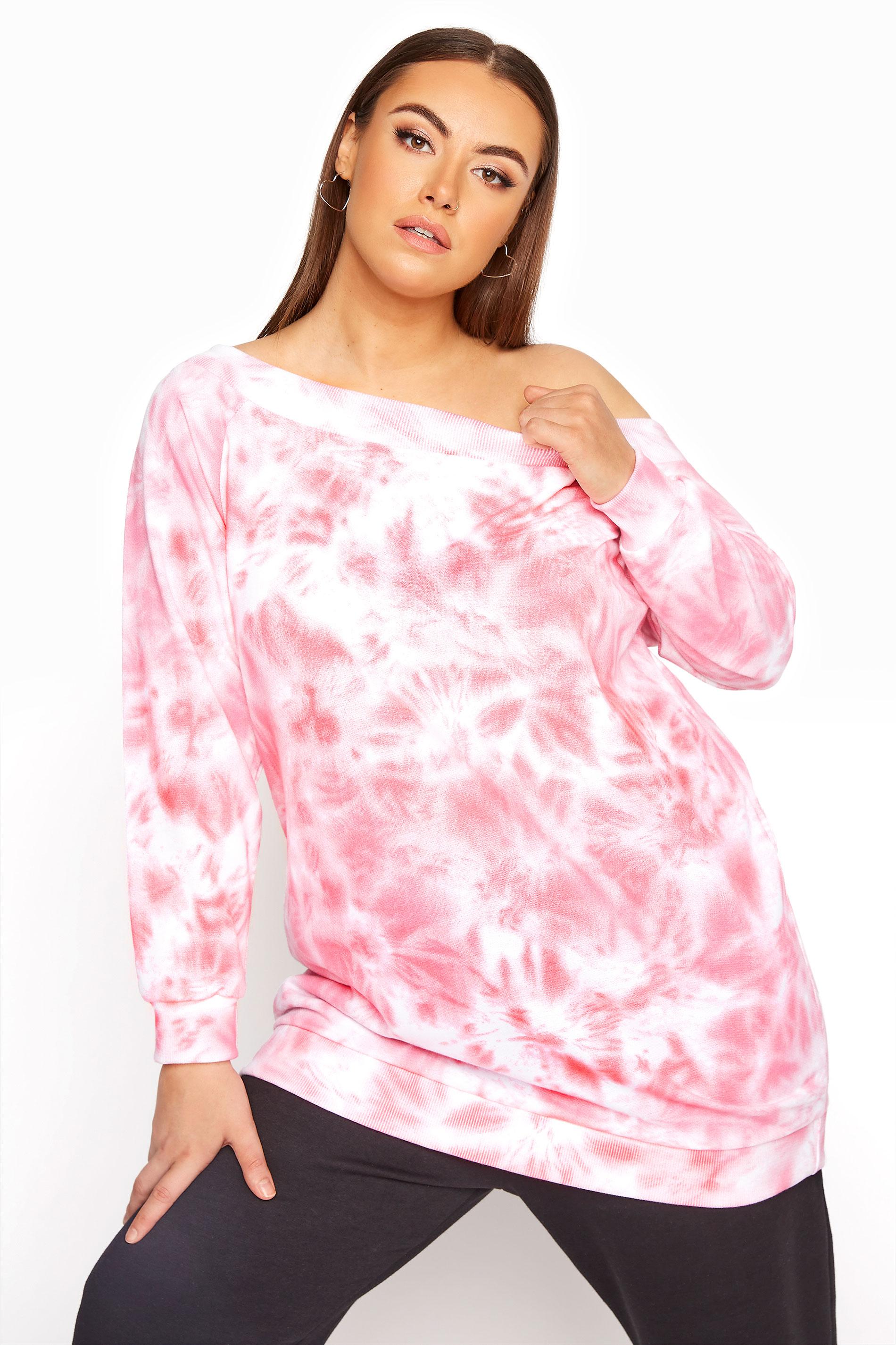 Schulterfreies Batik Sweatshirt, Pink