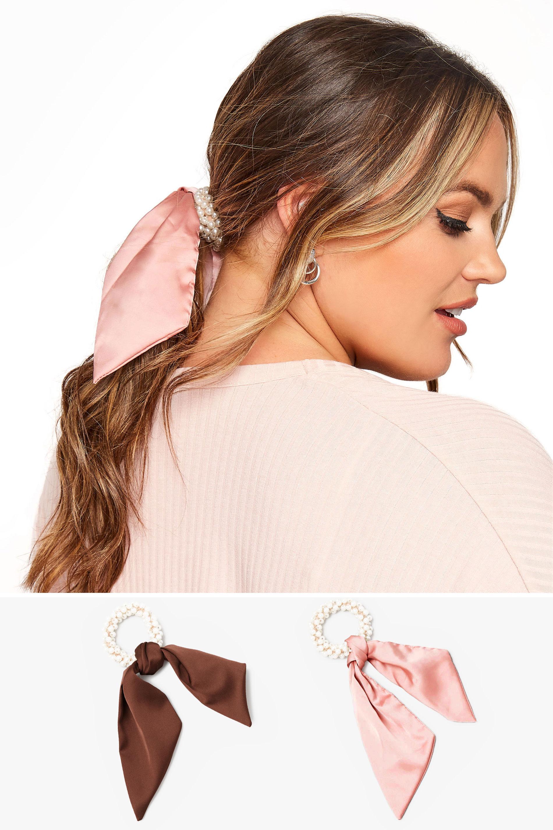 2 PACK Pink Pearl Trim Long Scrunchies_split.jpg
