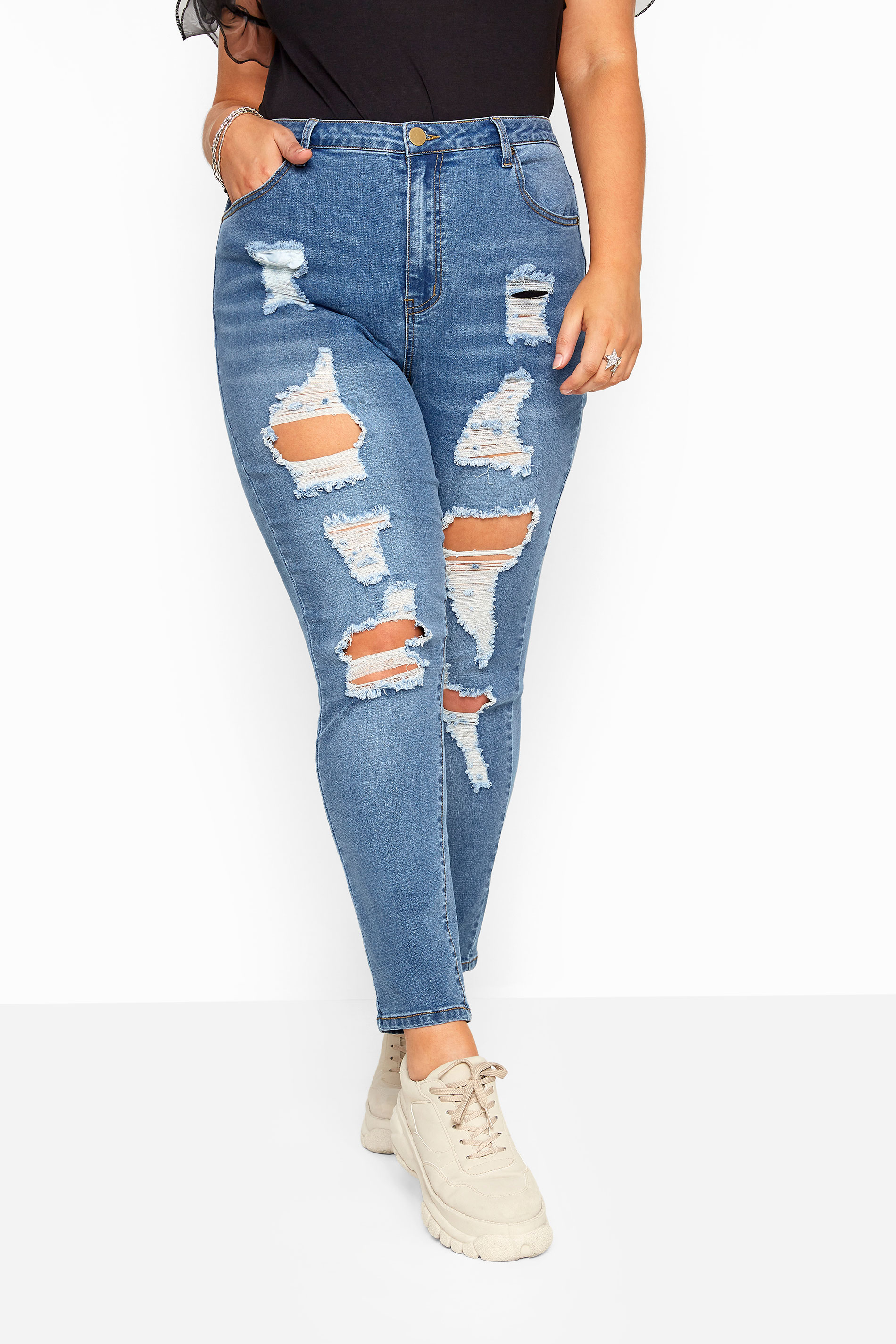 AVA Skinny Stretch-Jeans mit Rissen - Blau