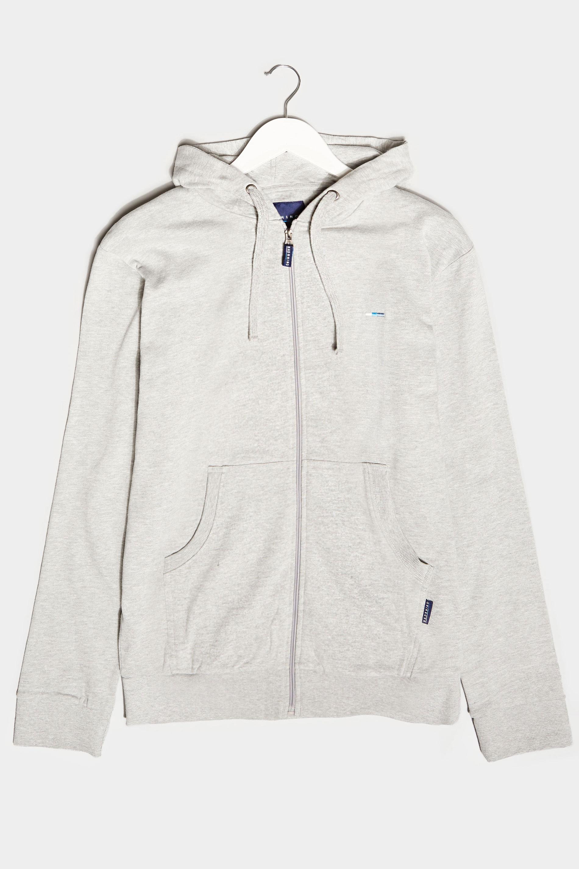 BadRhino Grey Marl Essential Zip Through Hoodie