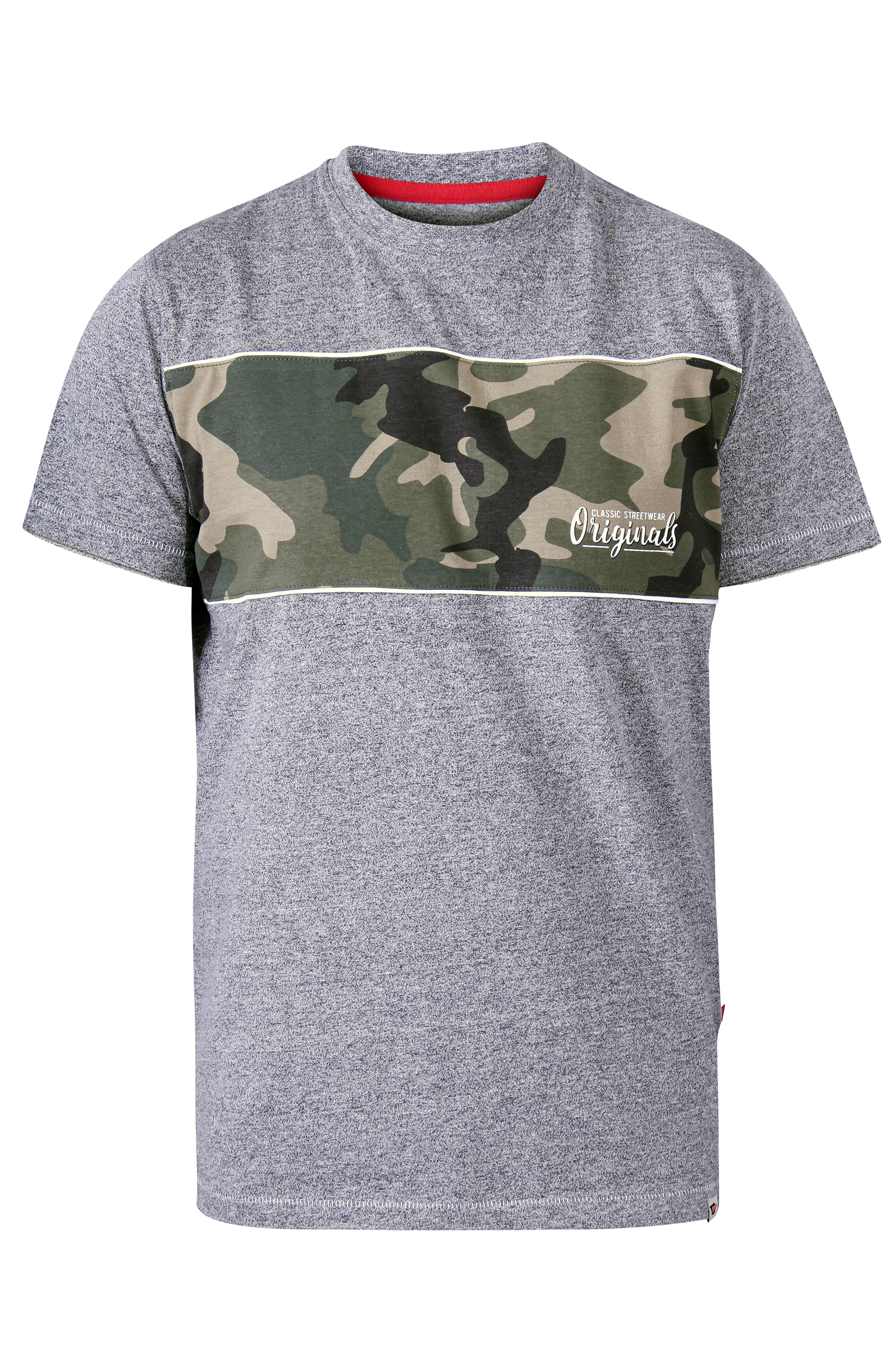 D555 Grey Camo Printed Graphic T-Shirt