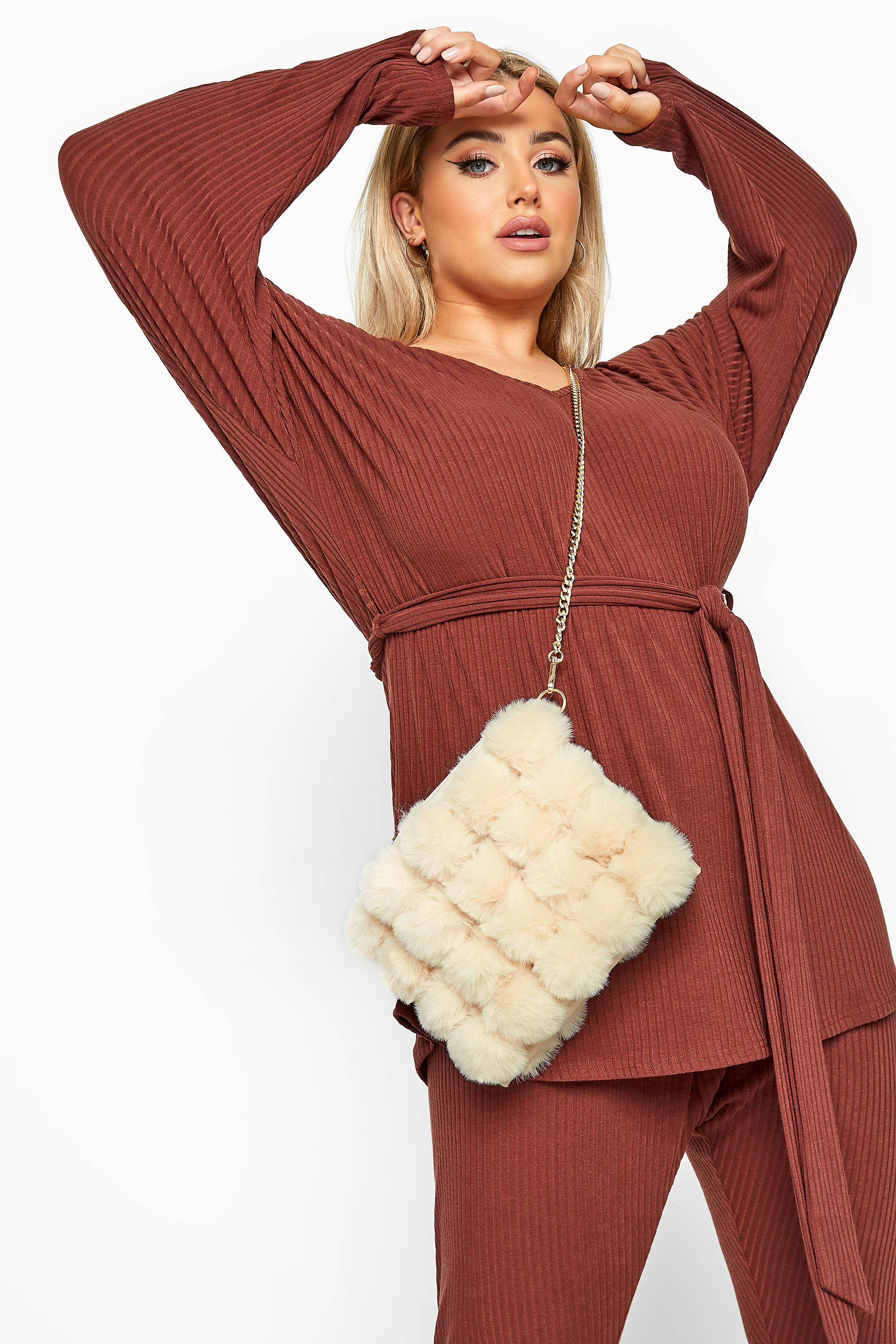 Cream Faux Vegan Fur Chain Cross Body Bag