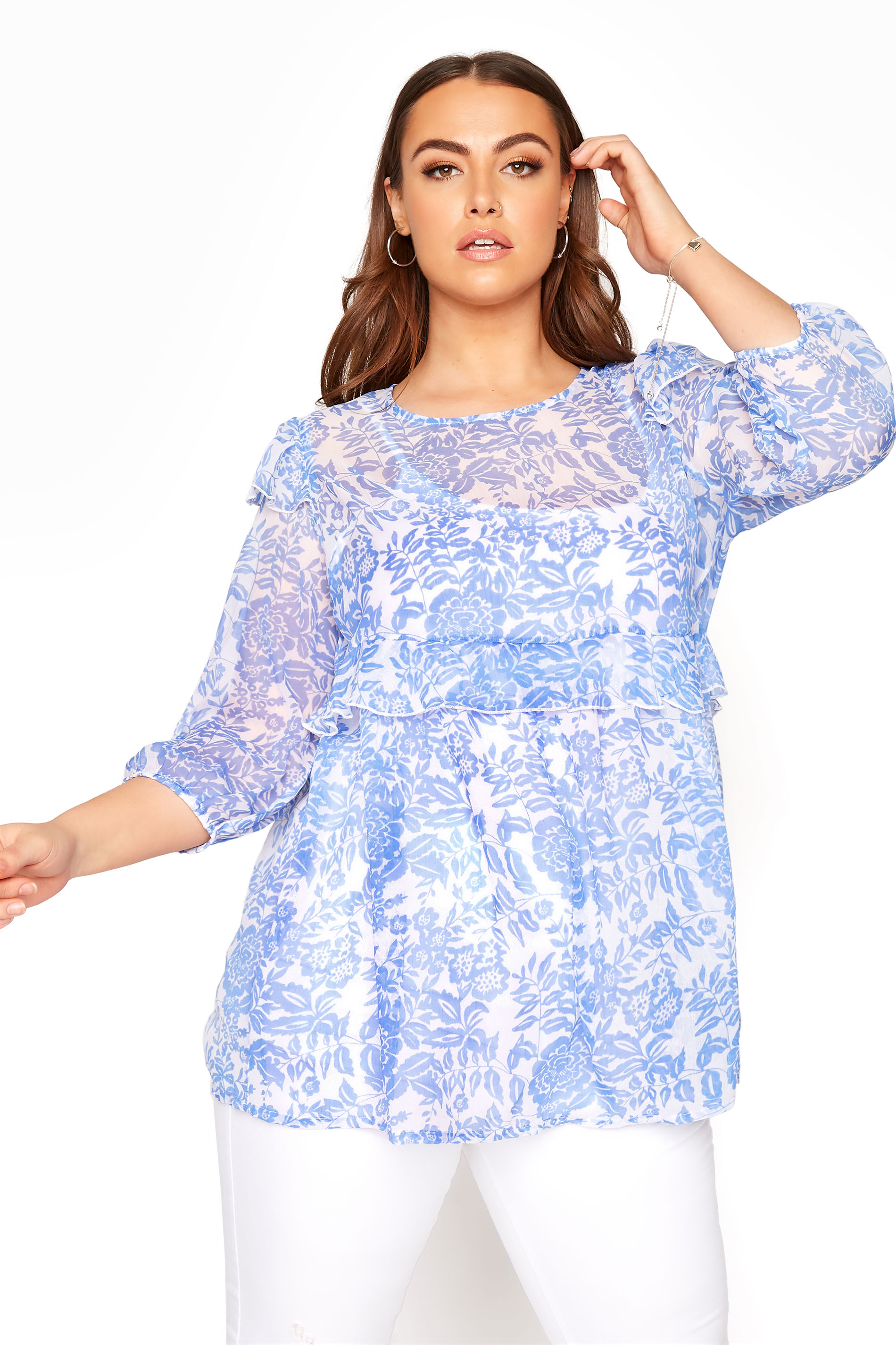 LIMITED COLLECTION Light Blue Frill Floral Blouse_A.jpg