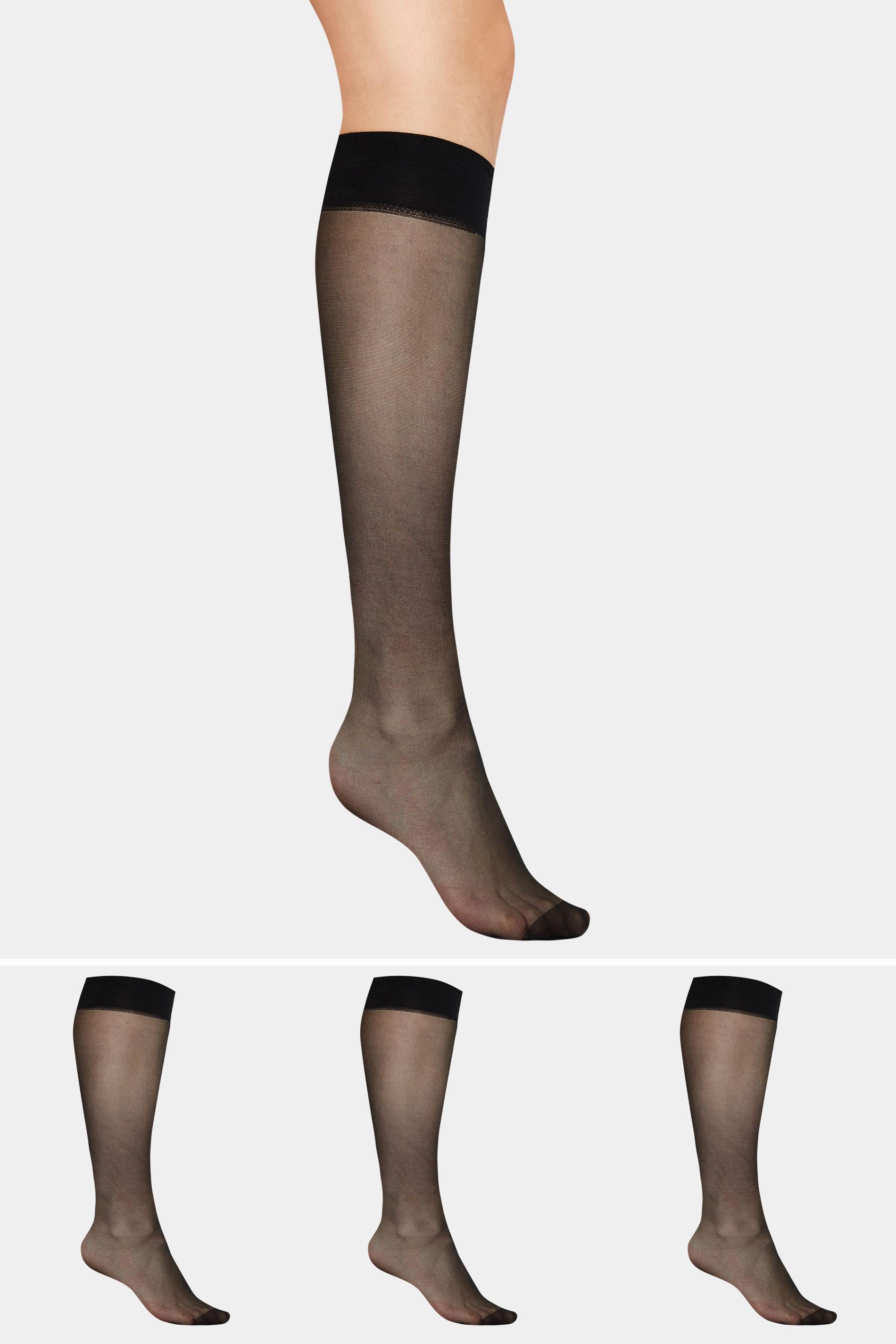 Black 3 PACK Knee High 15 Denier Tights