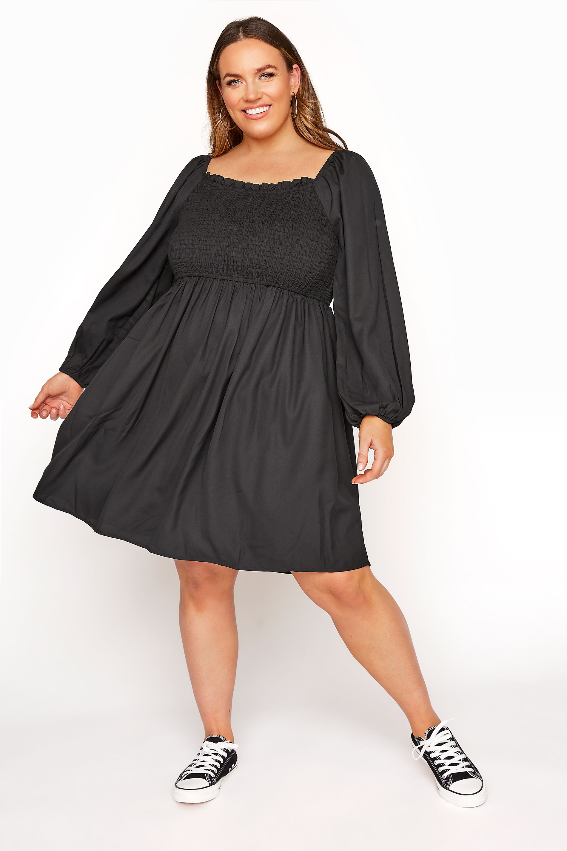LIMITED COLLECTION Black Shirred Smock Dress