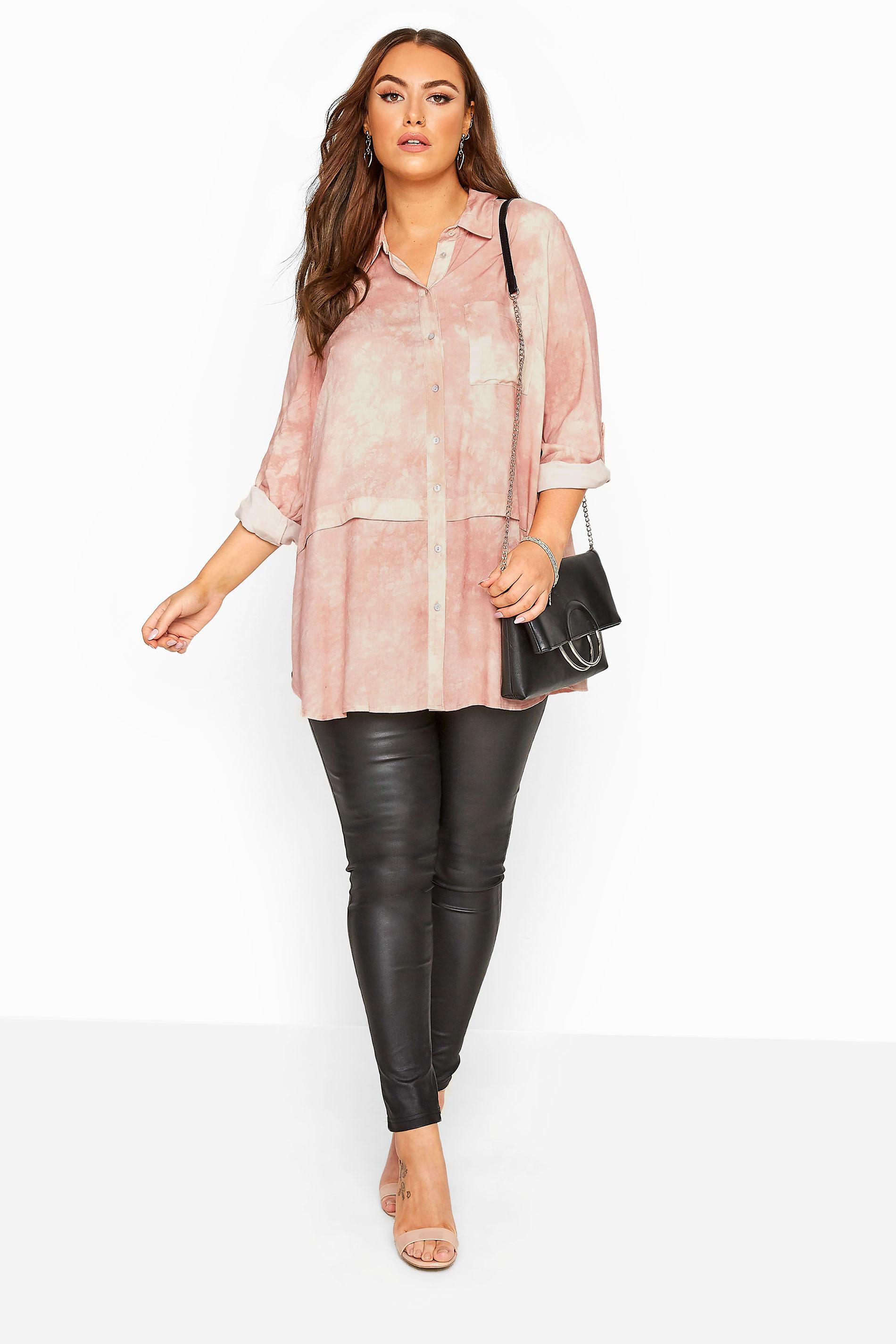 YOURS LONDON Granatowy top w pasy, moda xxl, ubrania dla
