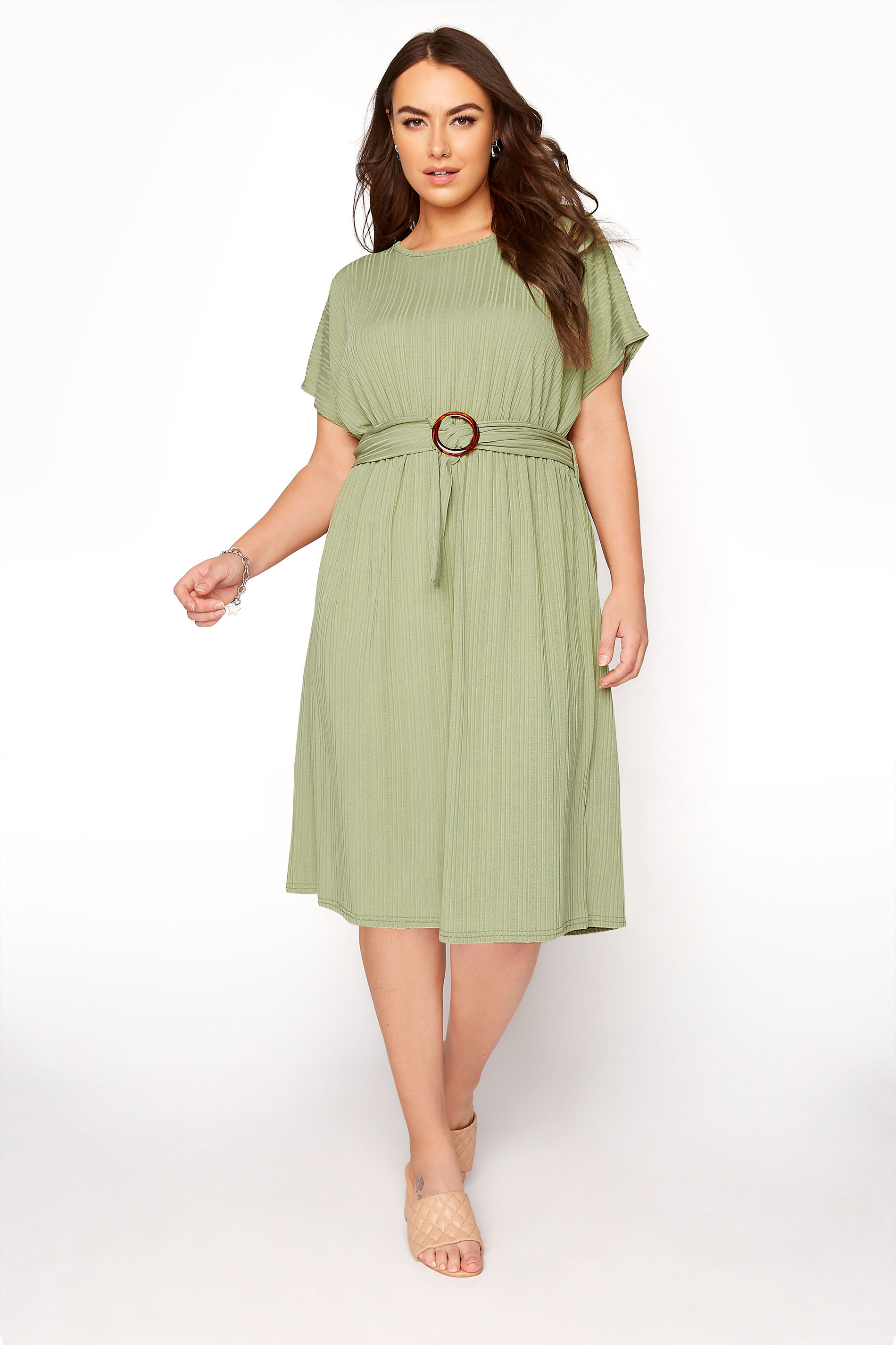 YOURS LONDON Green Ribbed Belted Dress_A.jpg