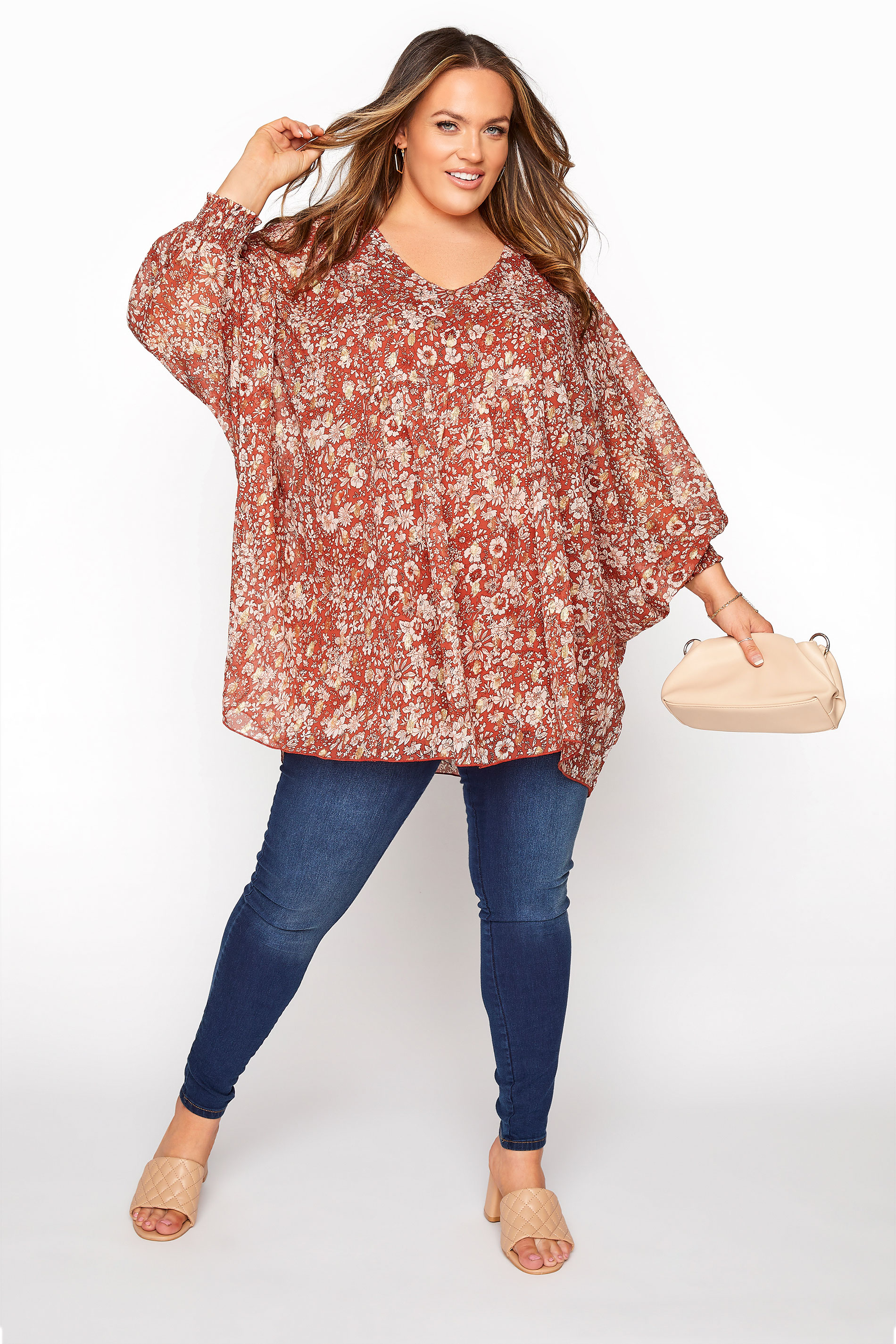 YOURS LONDON Rust Floral Batwing Sleeve Blouse_B.jpg
