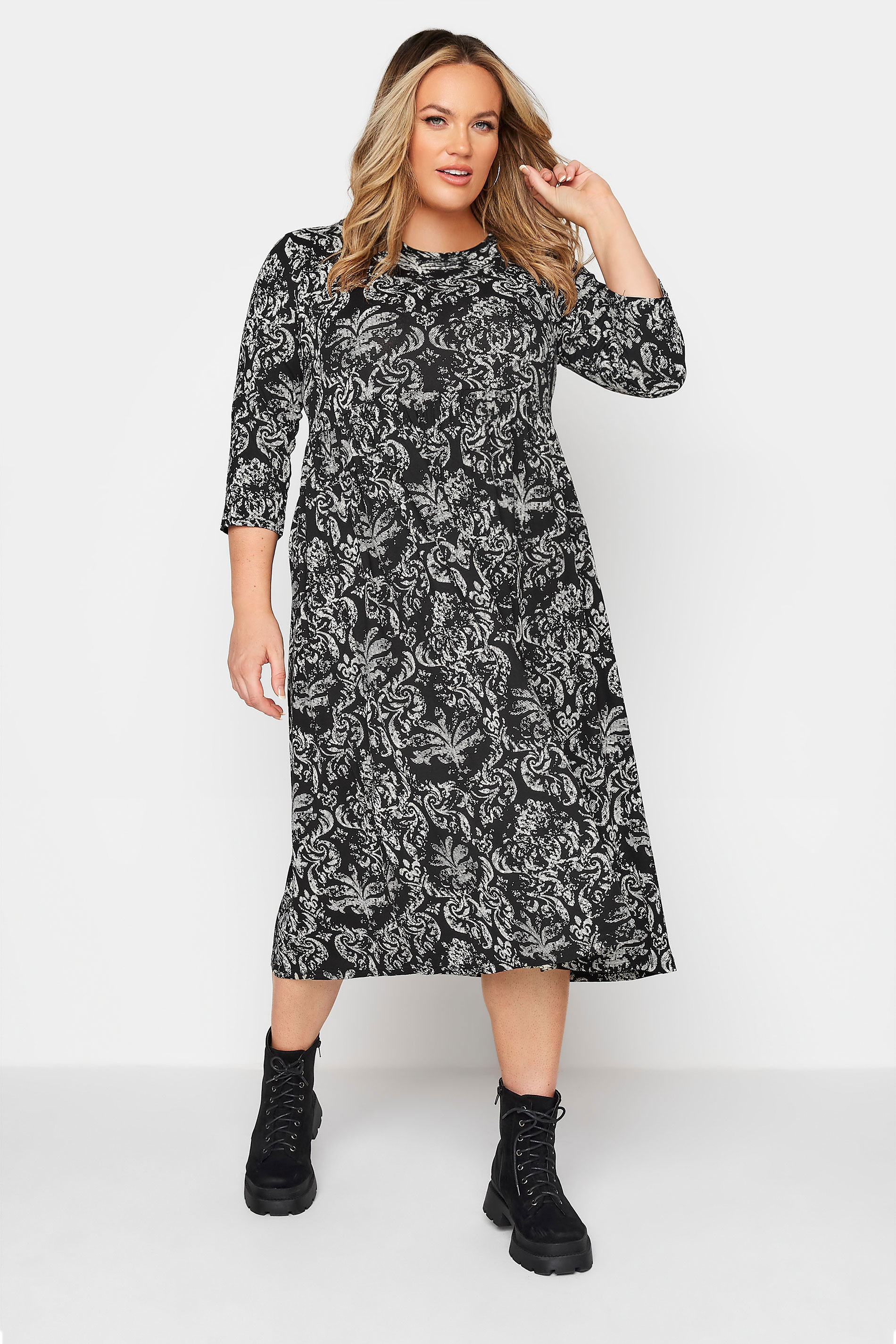 LIMITED COLLECTION Black Paisley Print Midaxi Dress_A.jpg