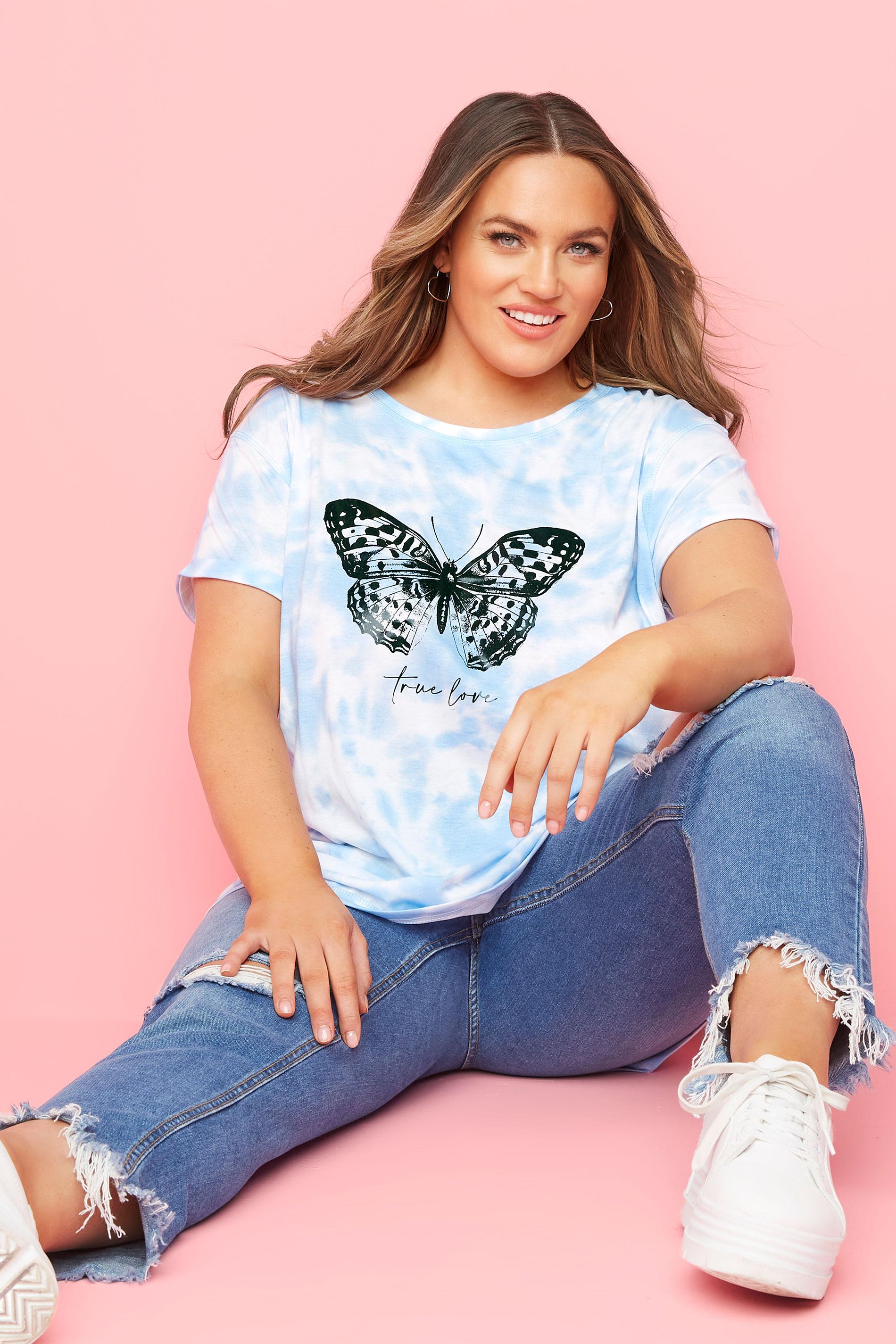 Light Blue Topstitch Butterfly Tie Dye T-Shirt