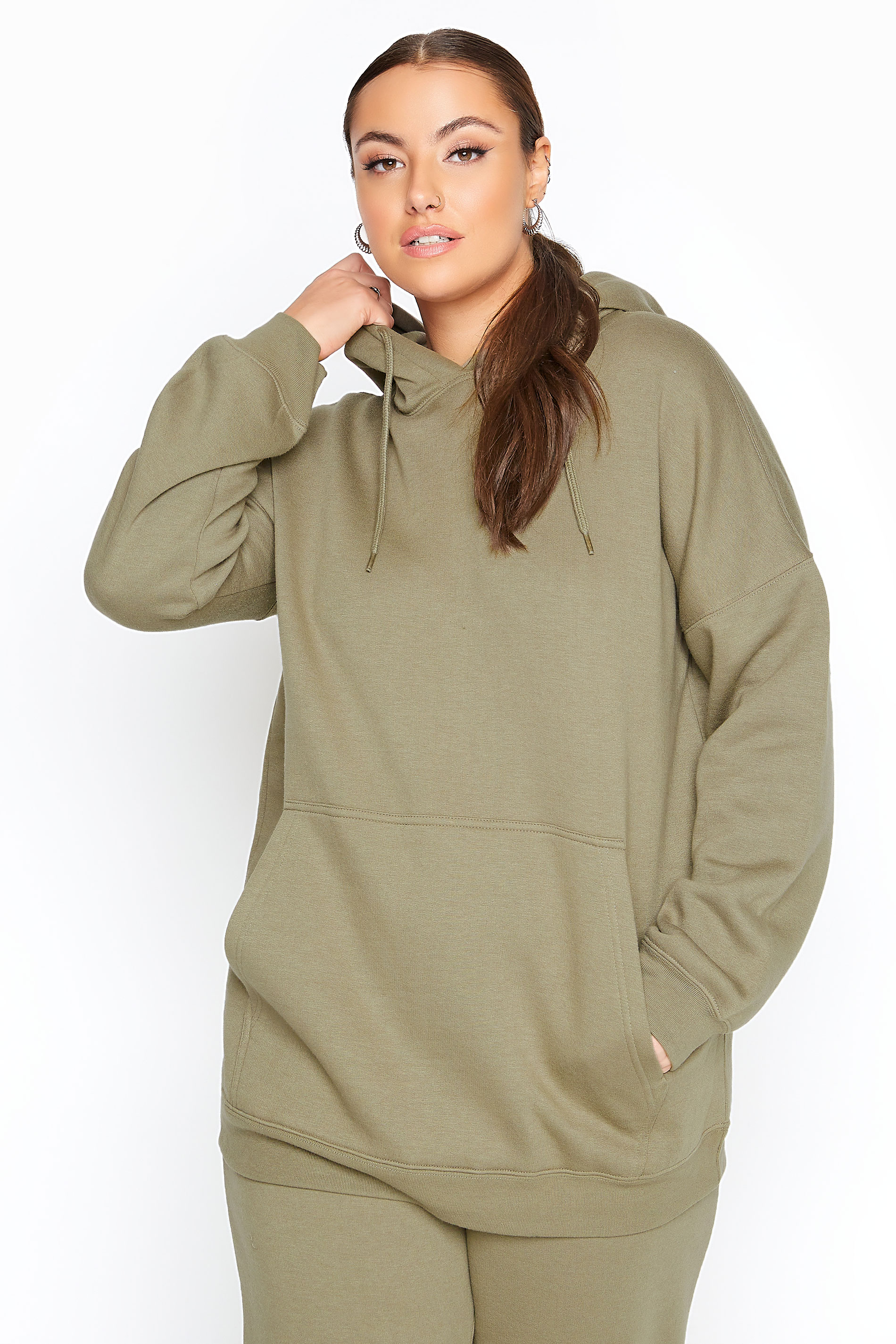 LIMITED COLLECTION Khaki Cotton Jersey Hoodie