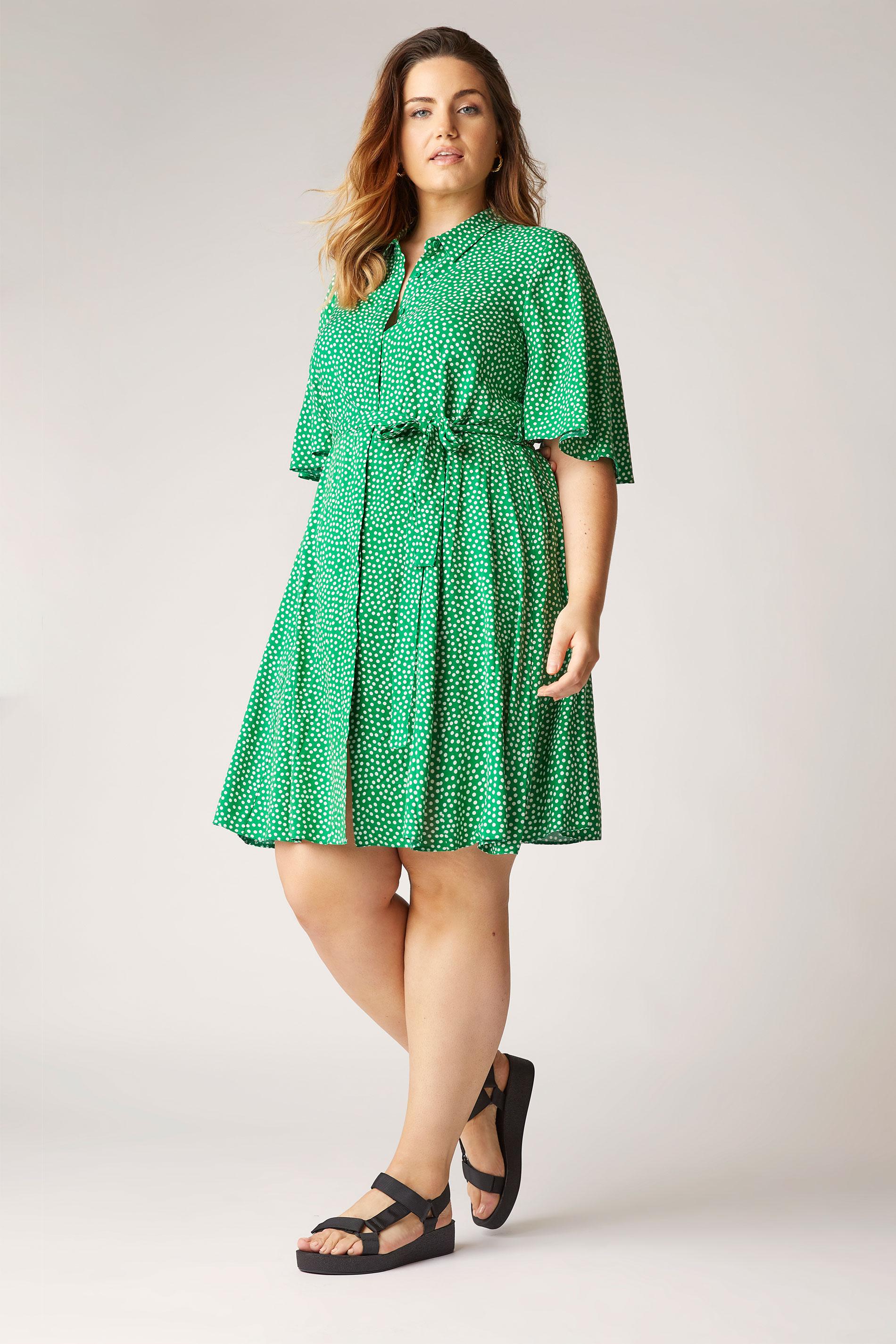THE LIMITED EDIT Green Polka Dot Shirt Mini Dress_A.jpg